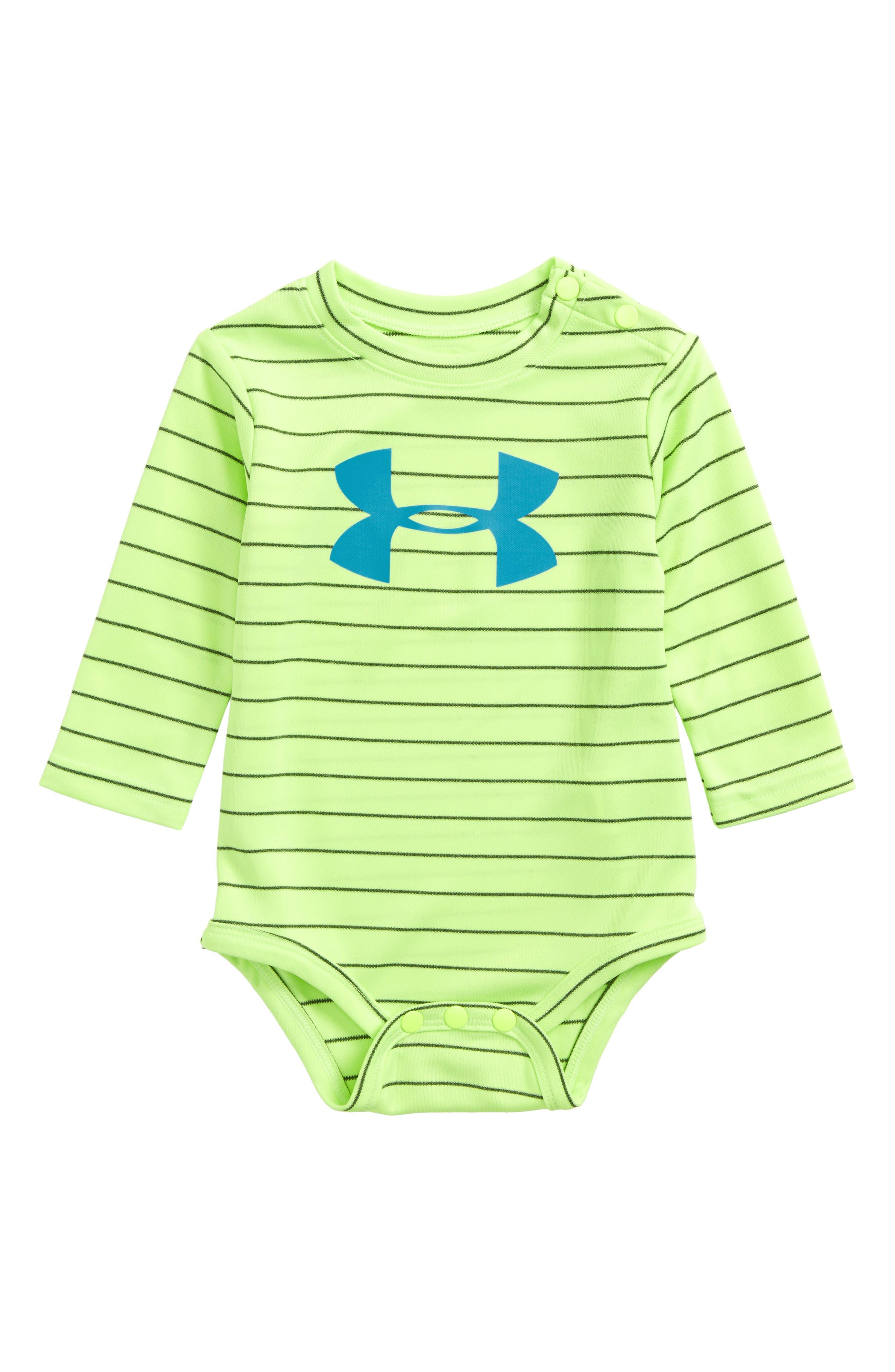 Main Image - Under Armour Big Logo Stripe Bodysuit (Baby Boys)