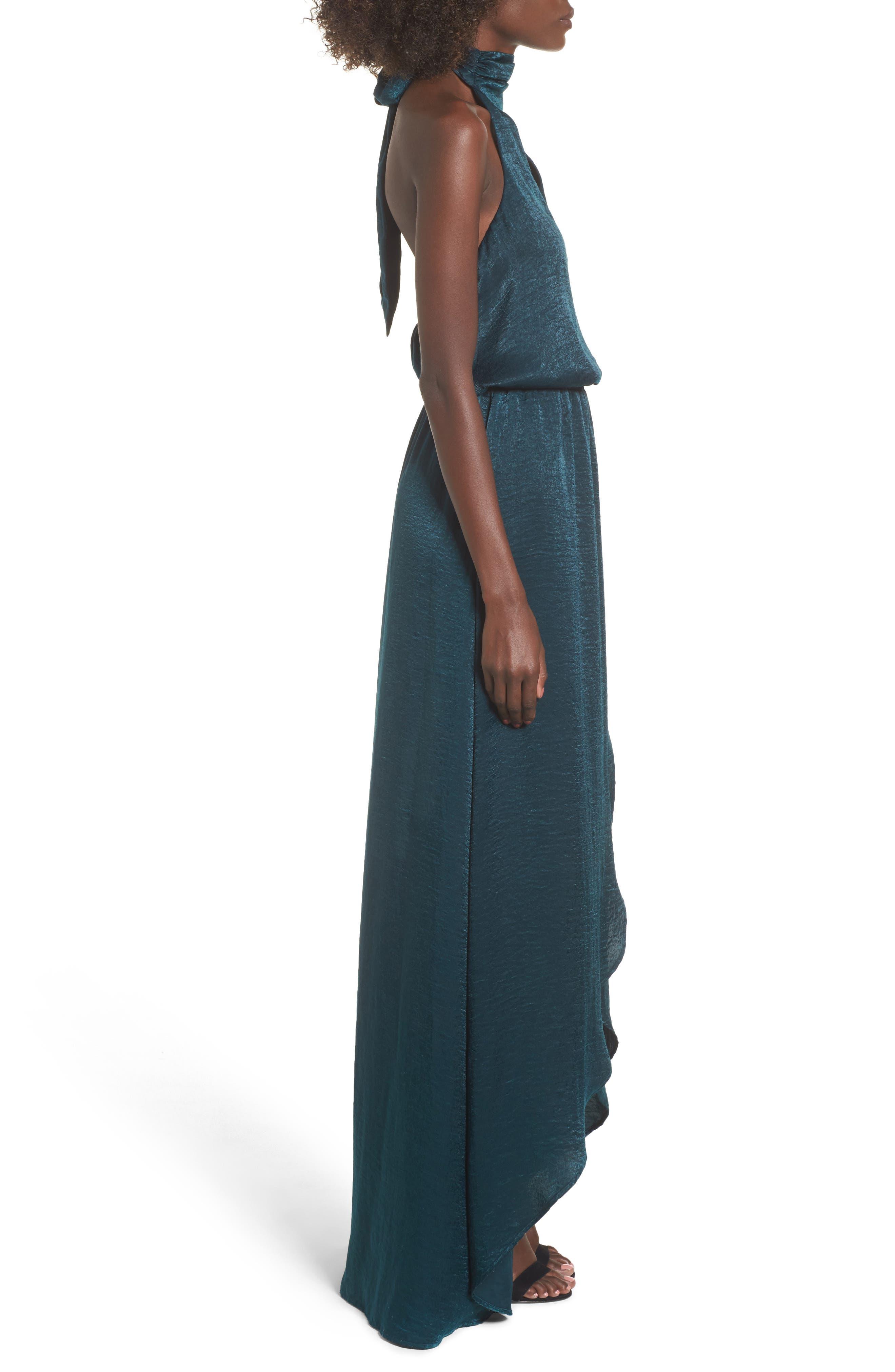Karolina Halter Maxi Dress,                             Alternate thumbnail 3, color,                             Dark Forest