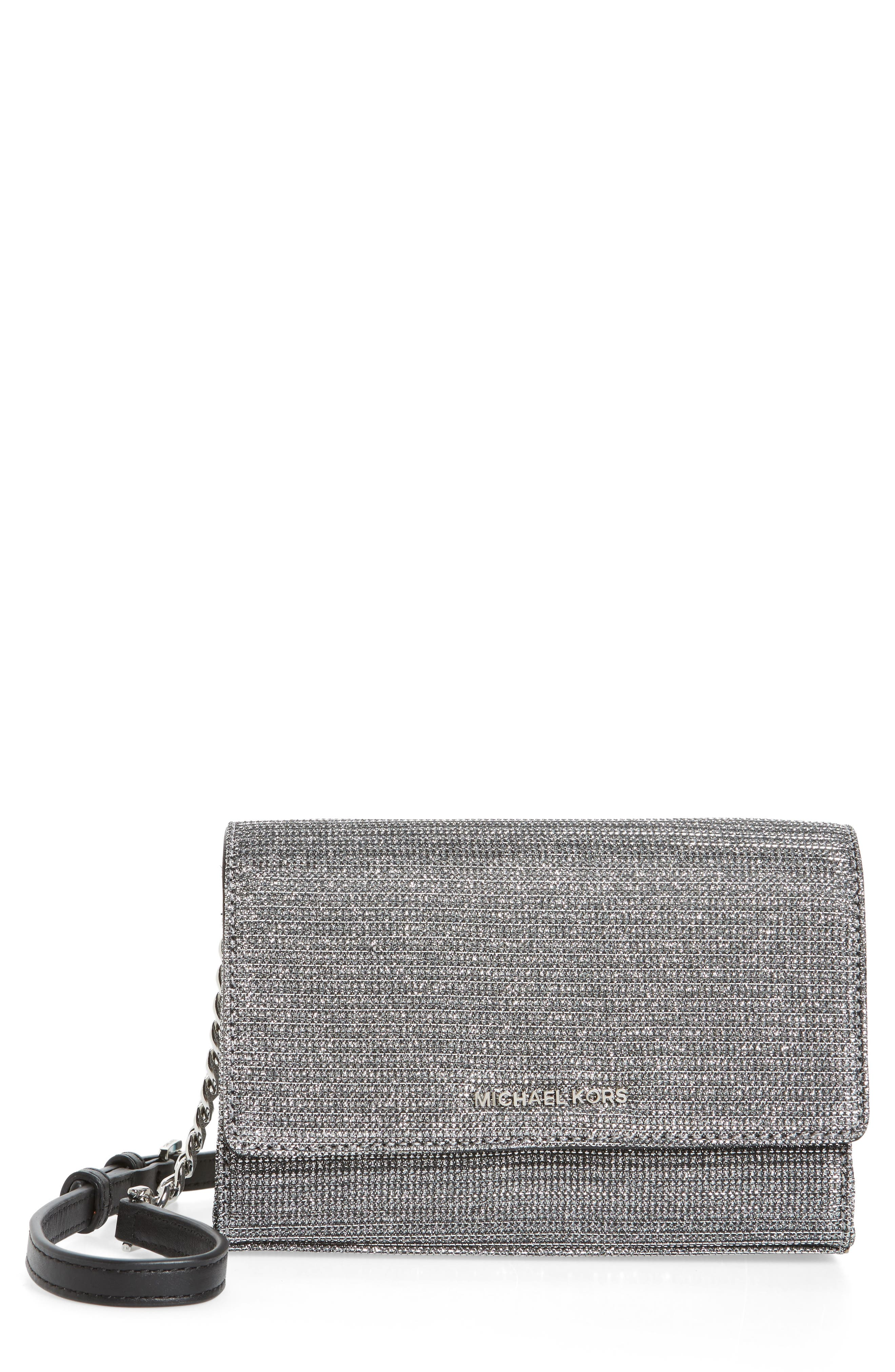 Medium Ruby Convertible Leather Clutch,                             Main thumbnail 1, color,                             Black/ Silver