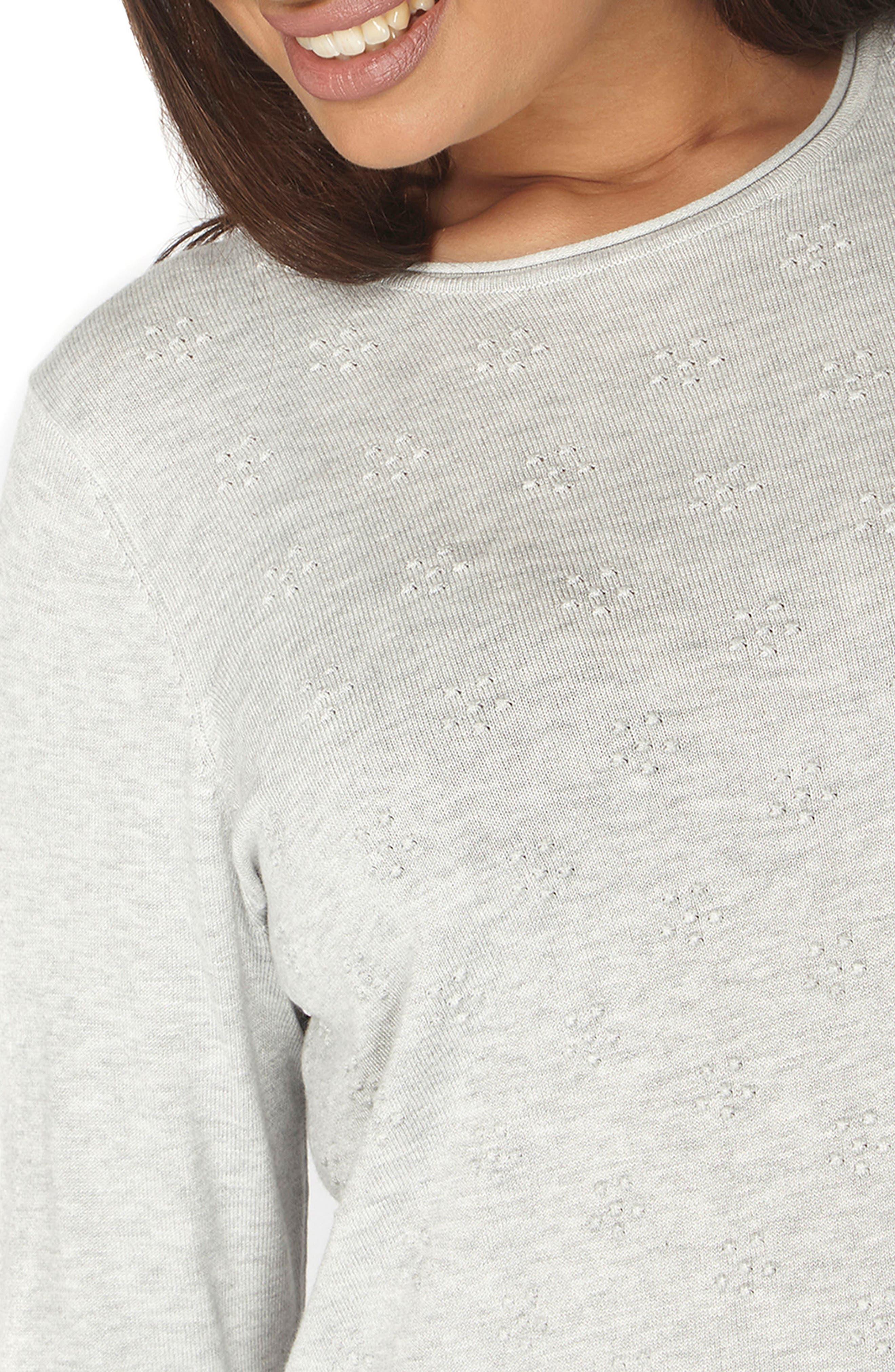 Dot Texture Sweater,                             Alternate thumbnail 3, color,                             Grey