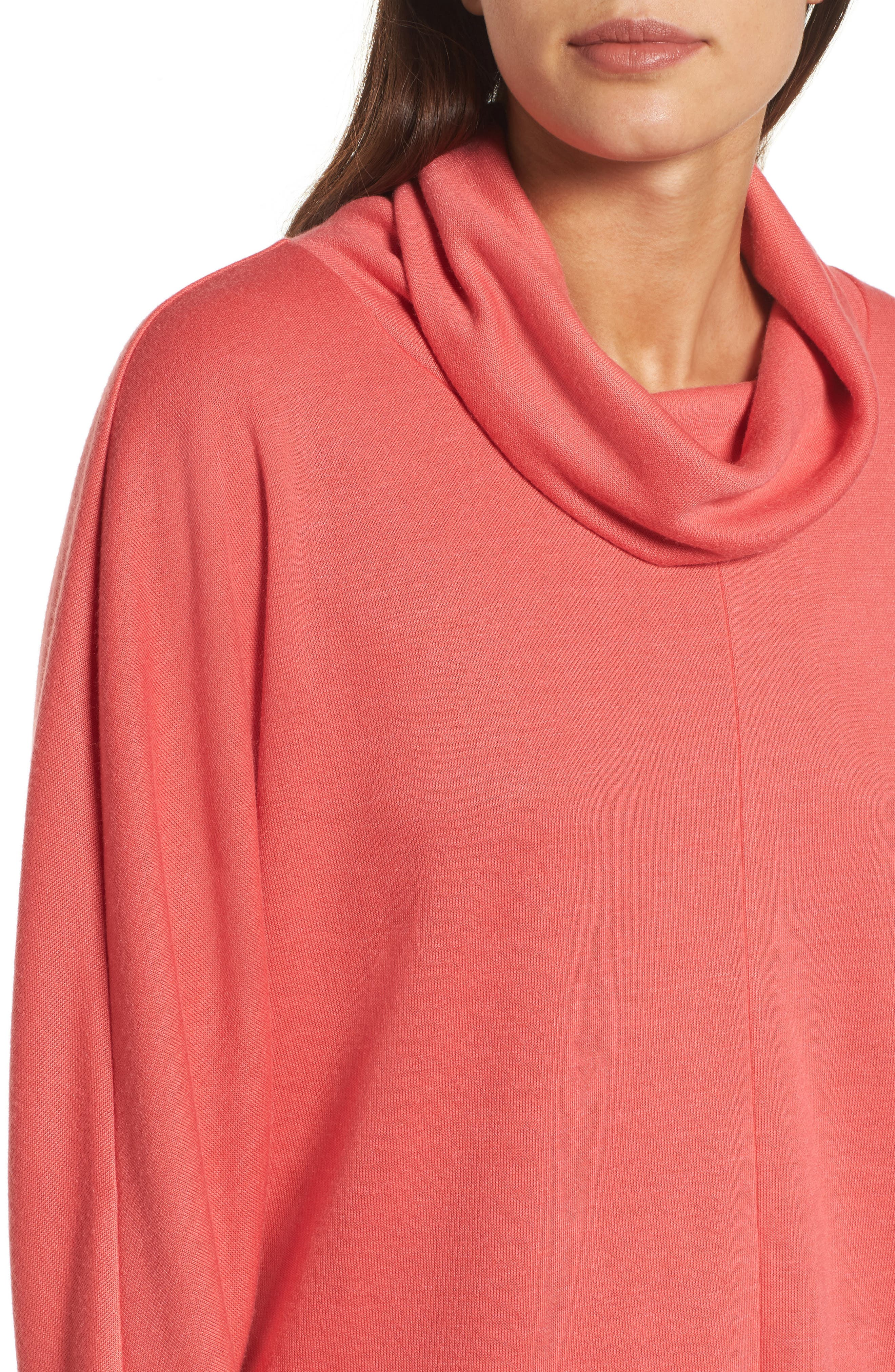 Cowl Neck Pullover,                             Alternate thumbnail 4, color,                             Coral Sea