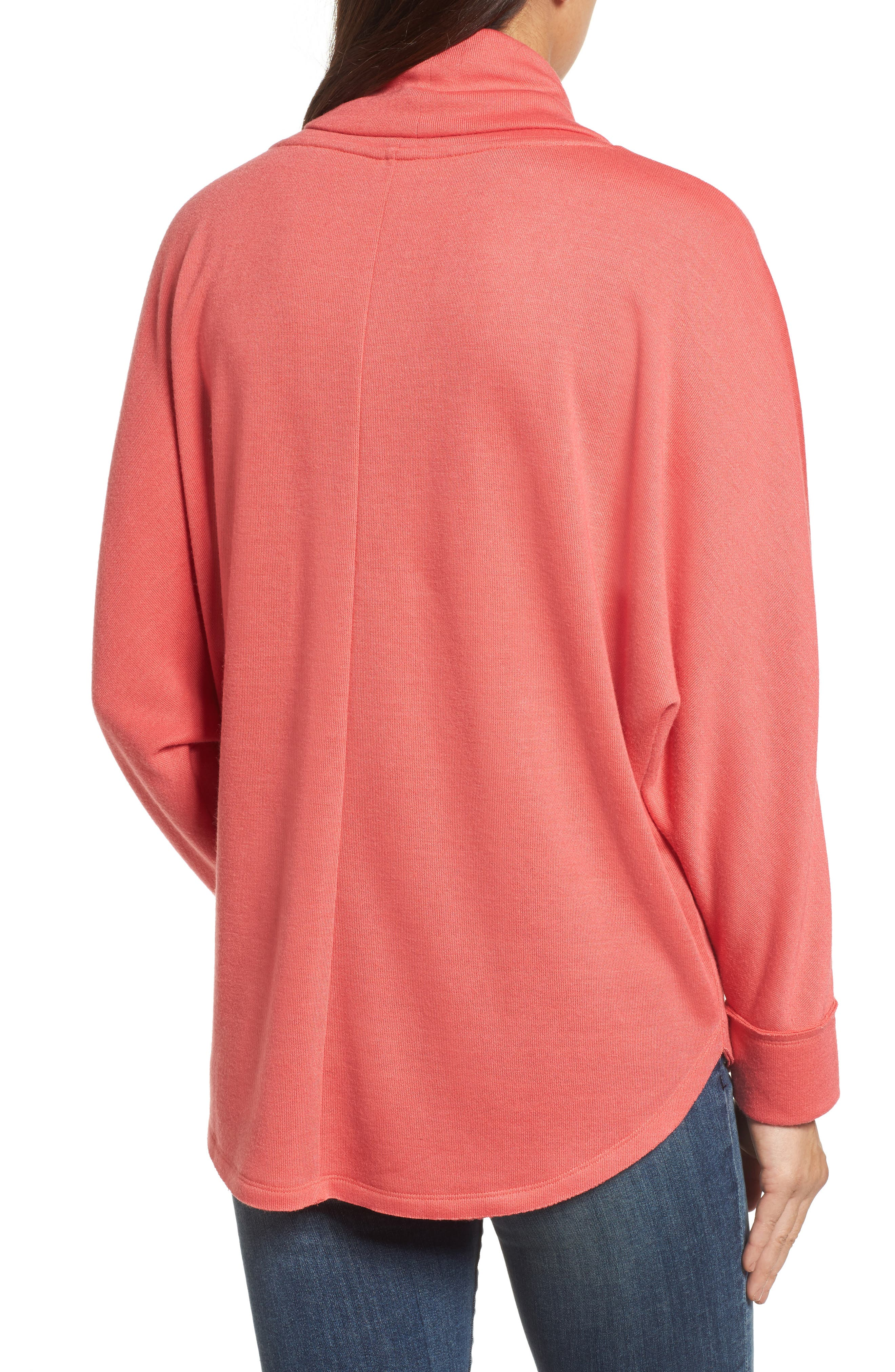 Cowl Neck Pullover,                             Alternate thumbnail 2, color,                             Coral Sea