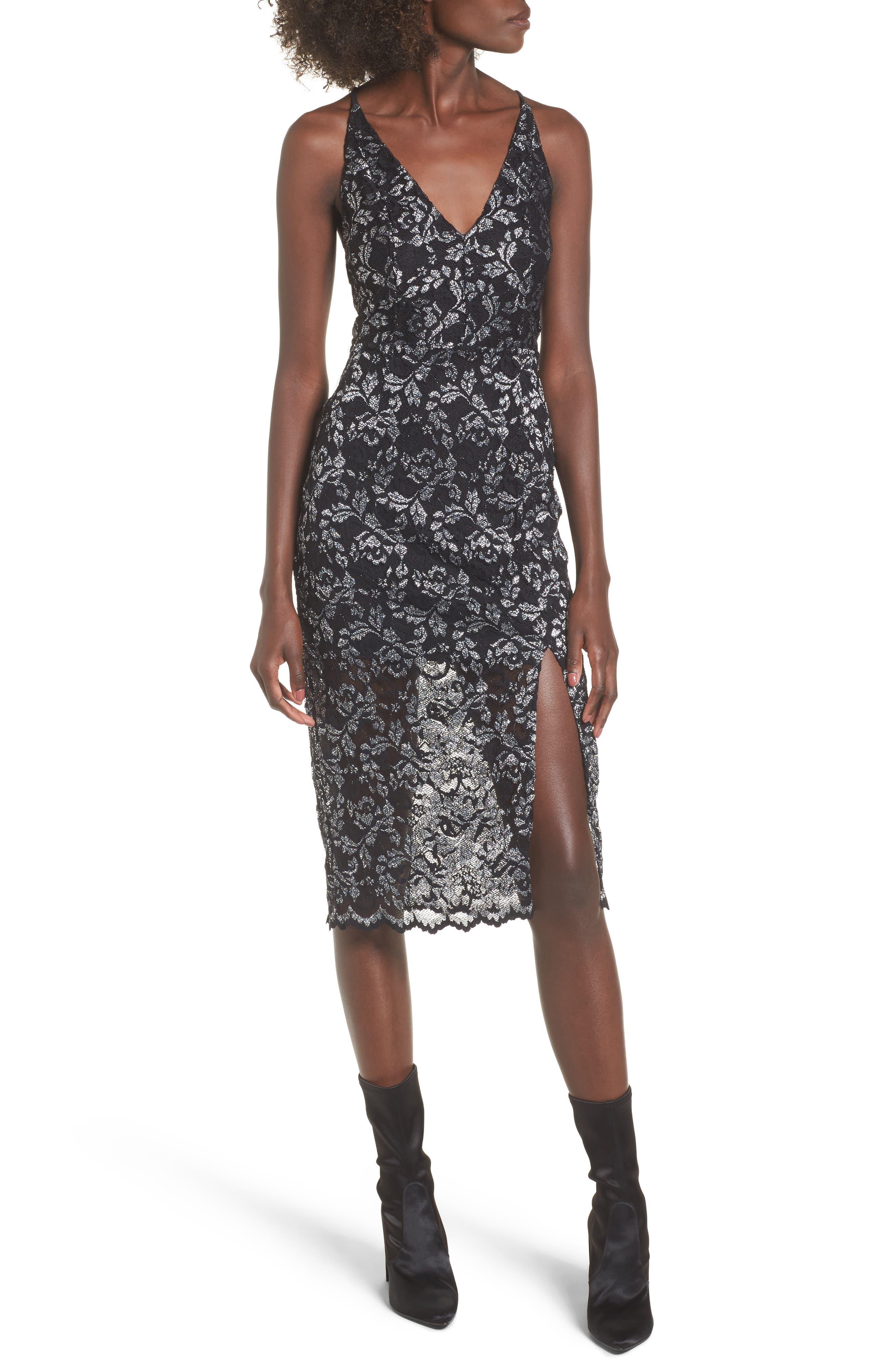Sitabella Lace Dress,                         Main,                         color, Black/ Silver
