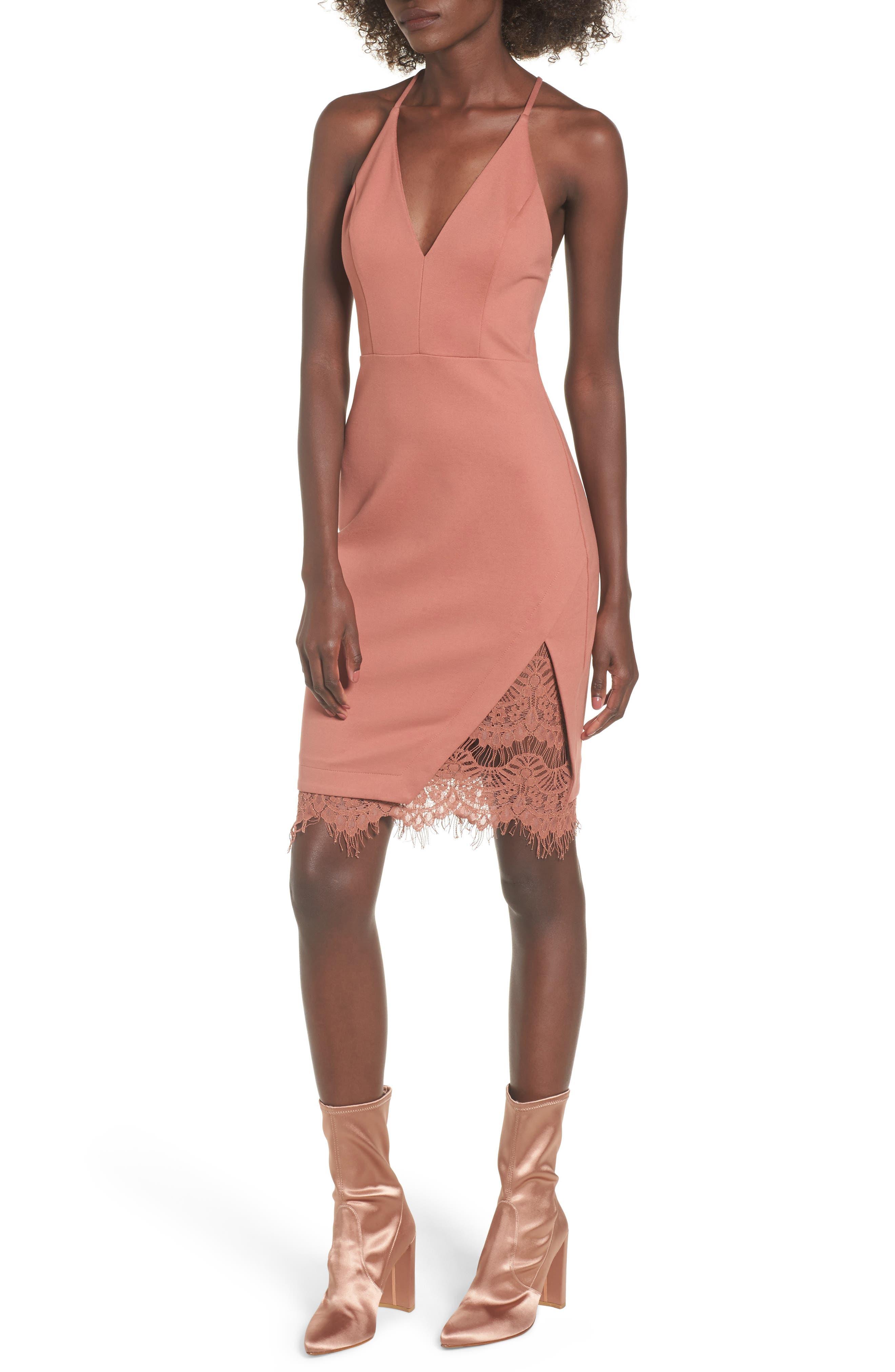Lace Body-Con Dress,                         Main,                         color, Coral Cedar