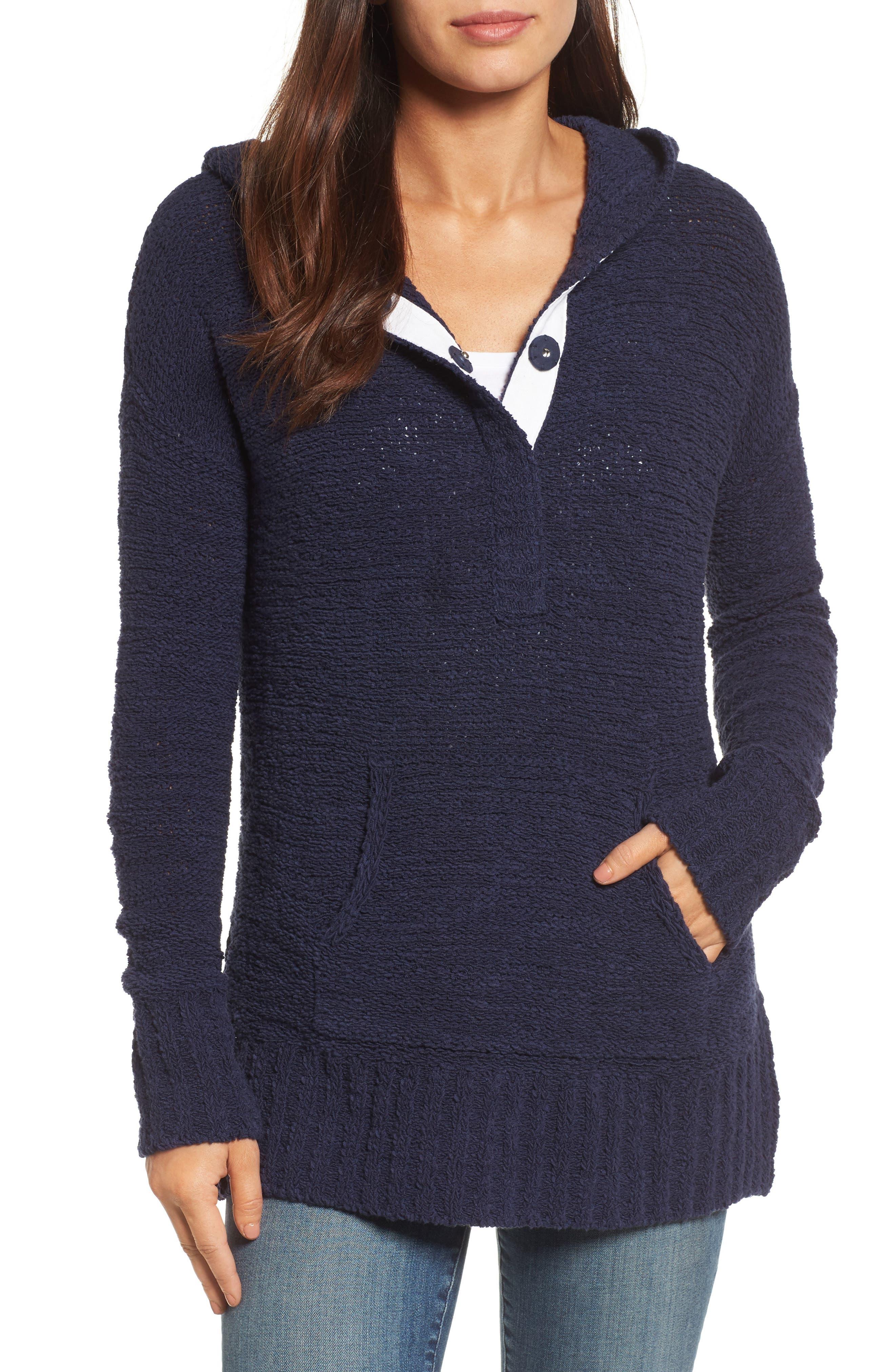 Caslon® Beachy Hooded Knit Sweater (Regular & Petite)