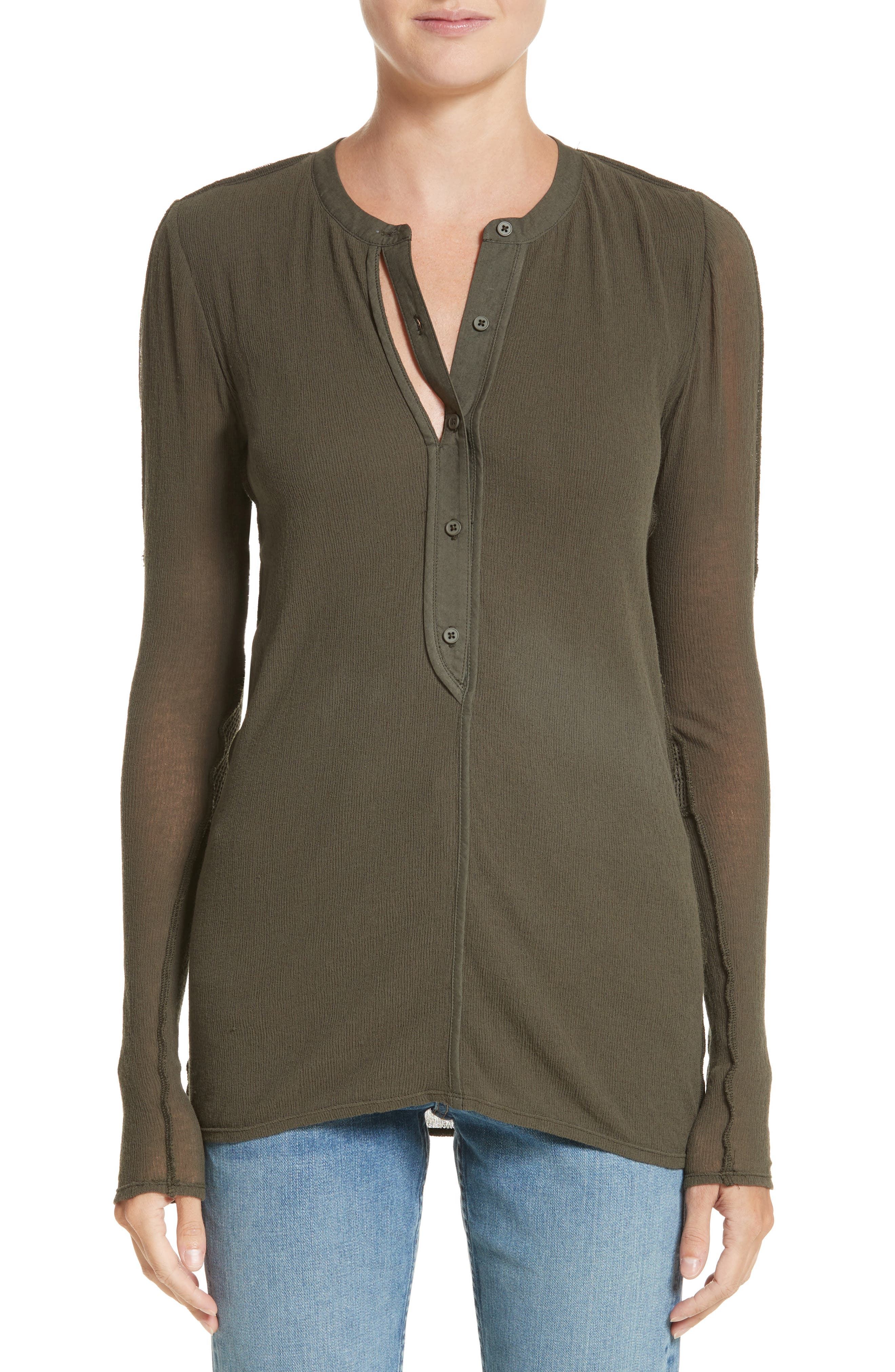 PSWL Jersey Gauze Top,                         Main,                         color, Army
