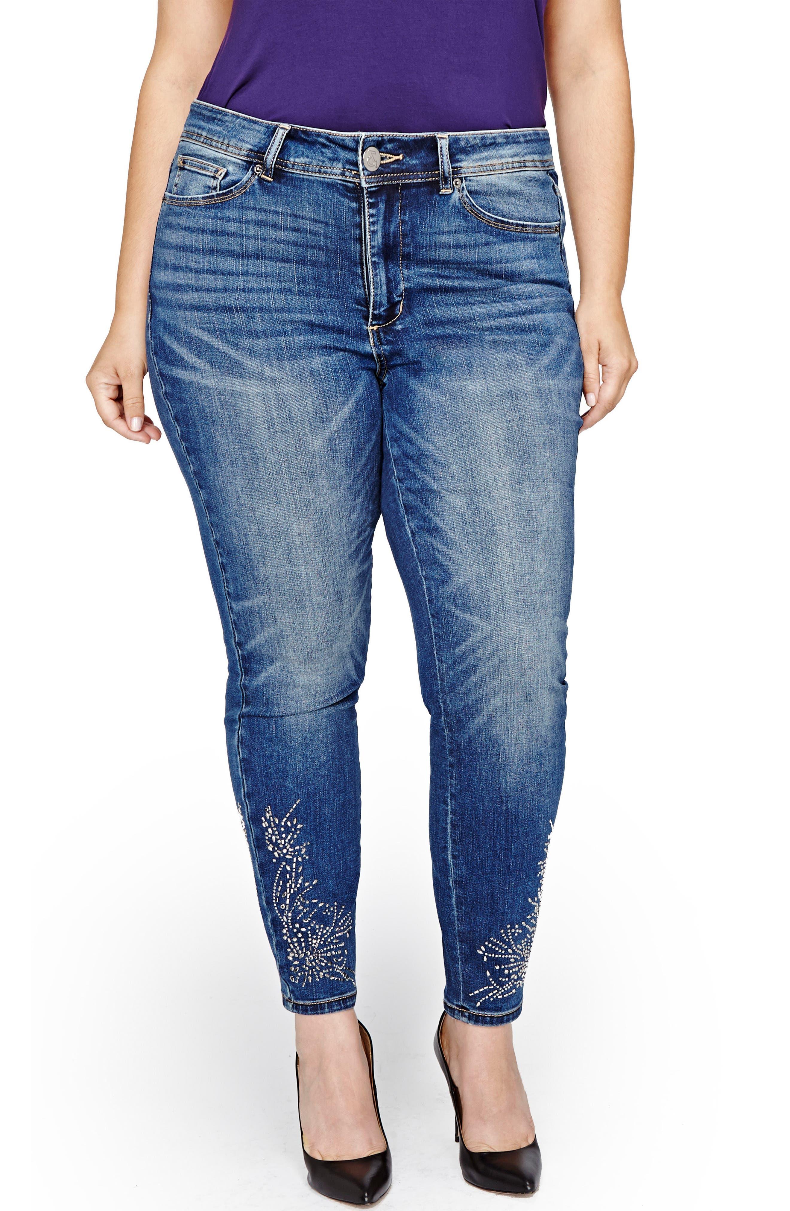 Addition Elle Love & Legend Embellished Hem Skinny Jeans,                             Main thumbnail 1, color,                             Medium Wash Denim