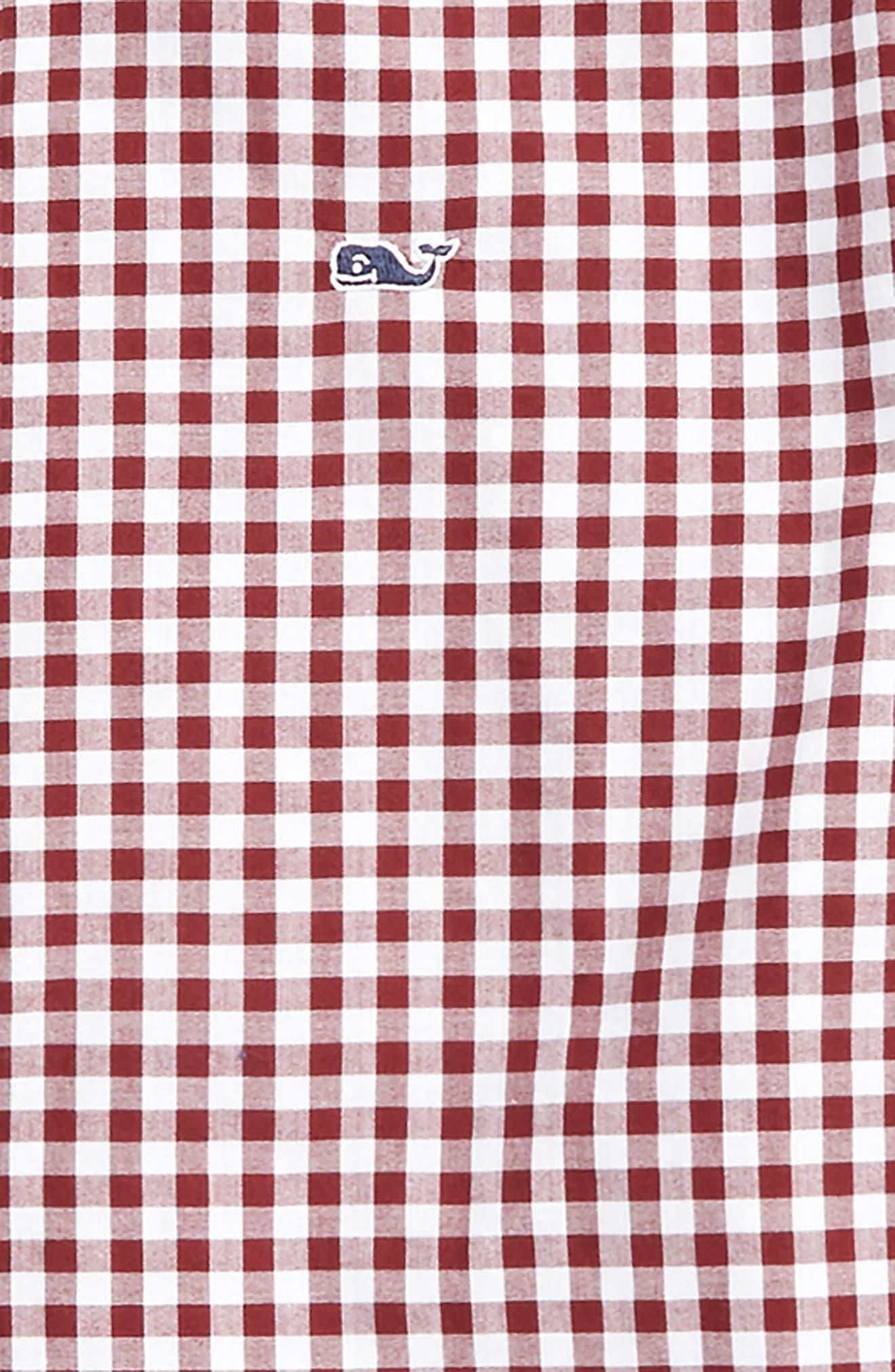Garden Quarter Gingham Whale Shirt,                             Alternate thumbnail 2, color,                             Crimson