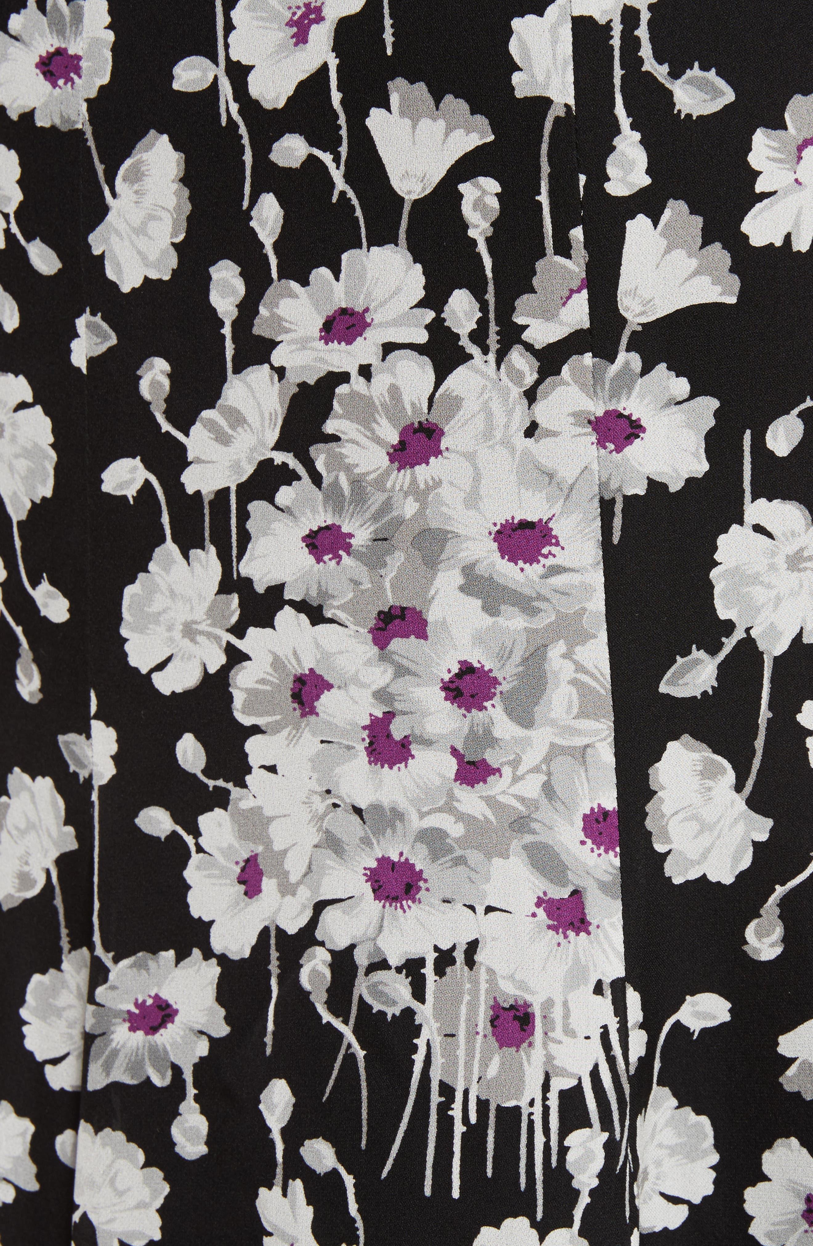 Joelle Ruffle Silk Dress,                             Alternate thumbnail 5, color,                             Black Multi