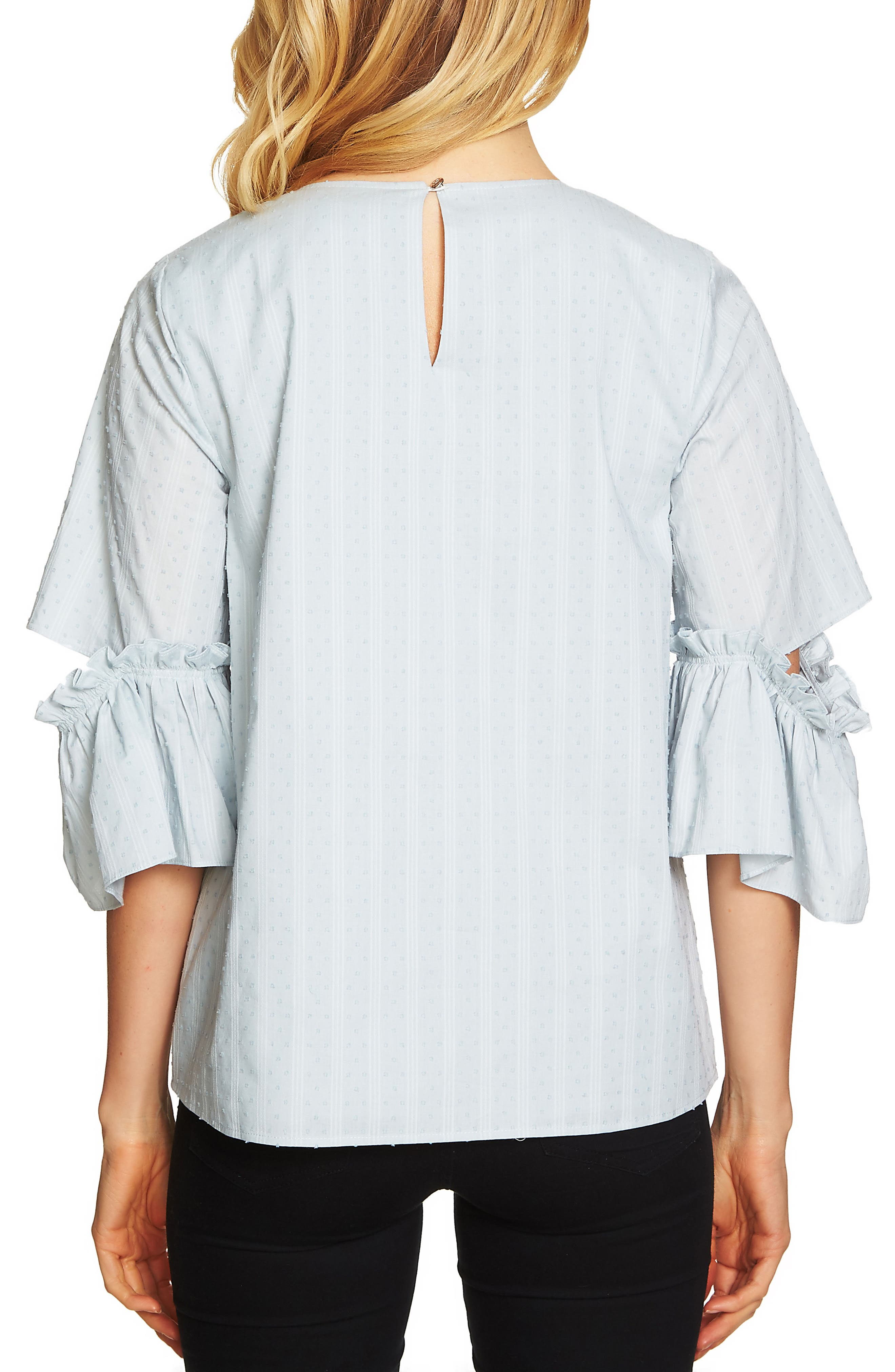 Textured Ruffle Sleeve Top,                             Alternate thumbnail 2, color,                             Blue Morning