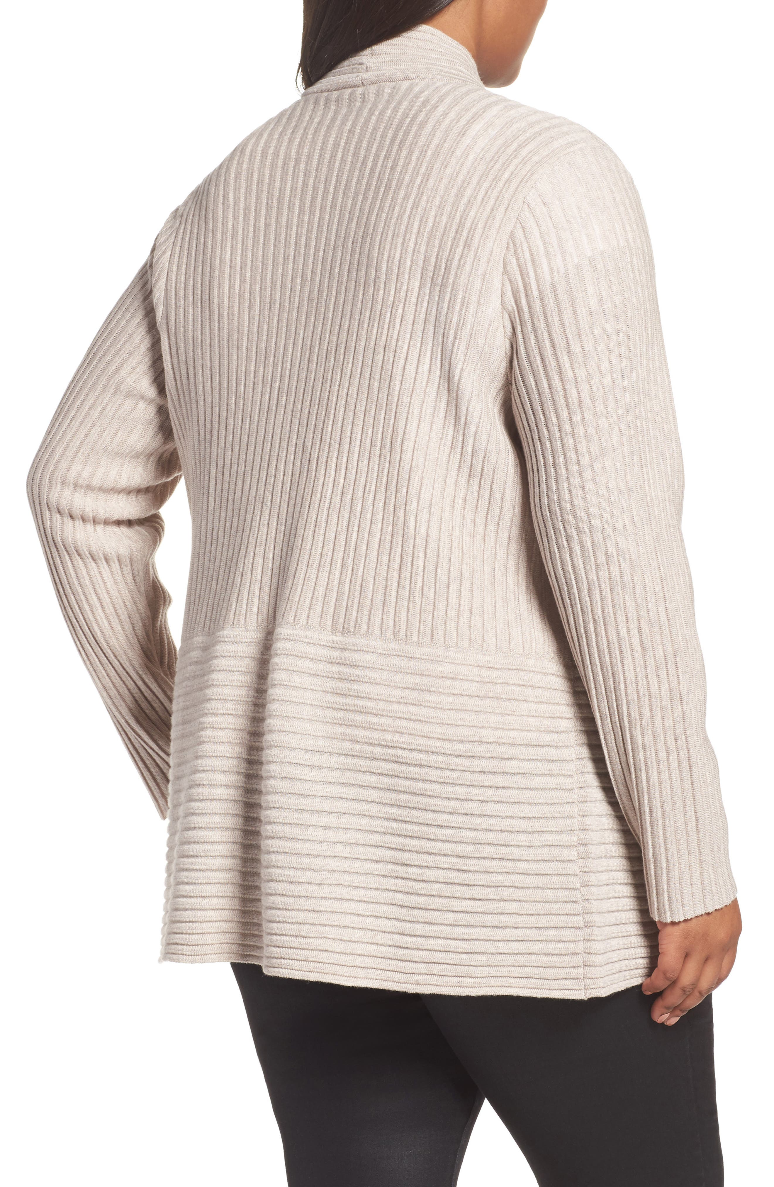 Ribbed Merino Wool Long Cardigan,                             Alternate thumbnail 2, color,                             Brown