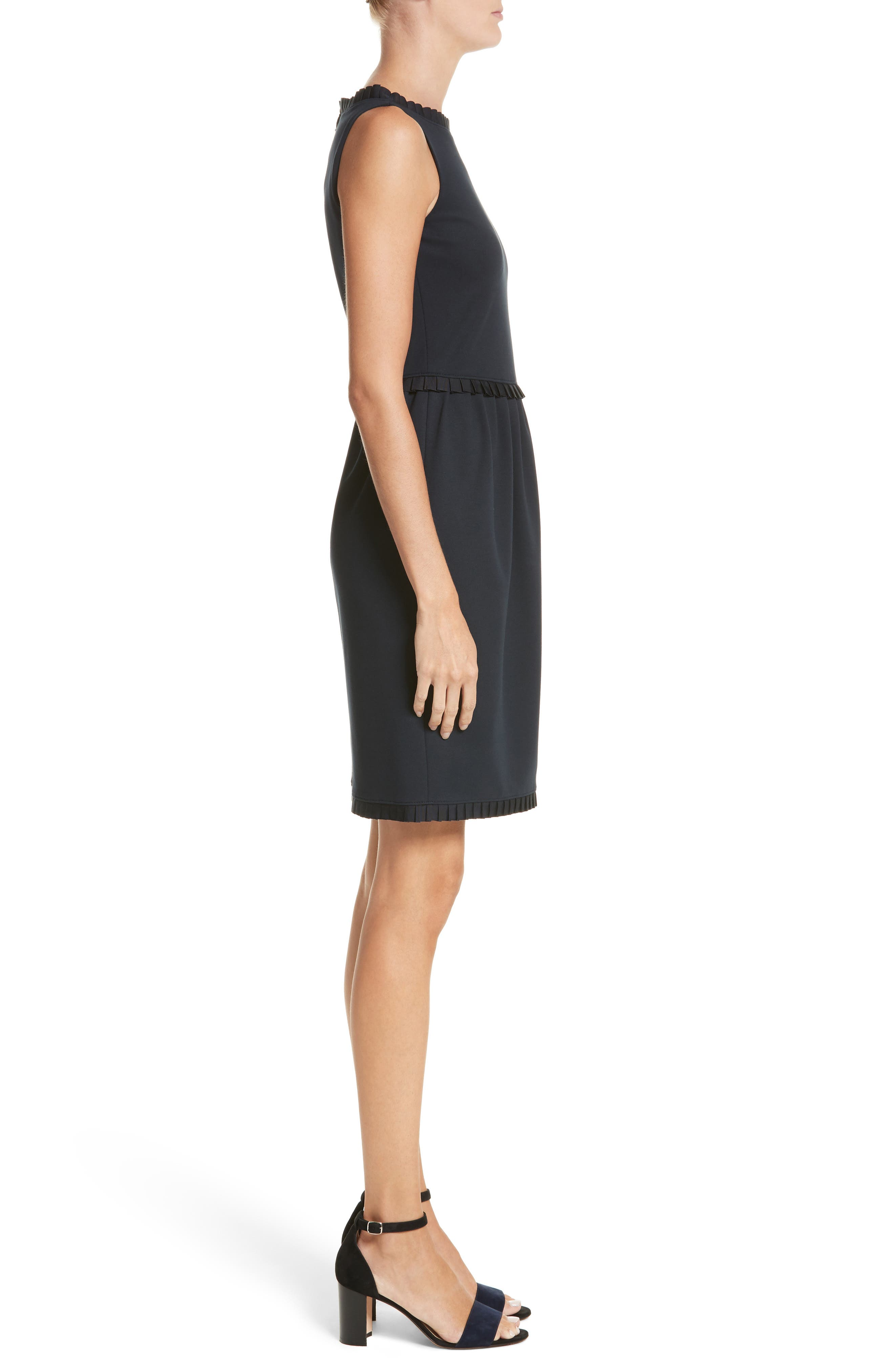 Milano Jersey Dress,                             Alternate thumbnail 3, color,                             Solid Blue Navy