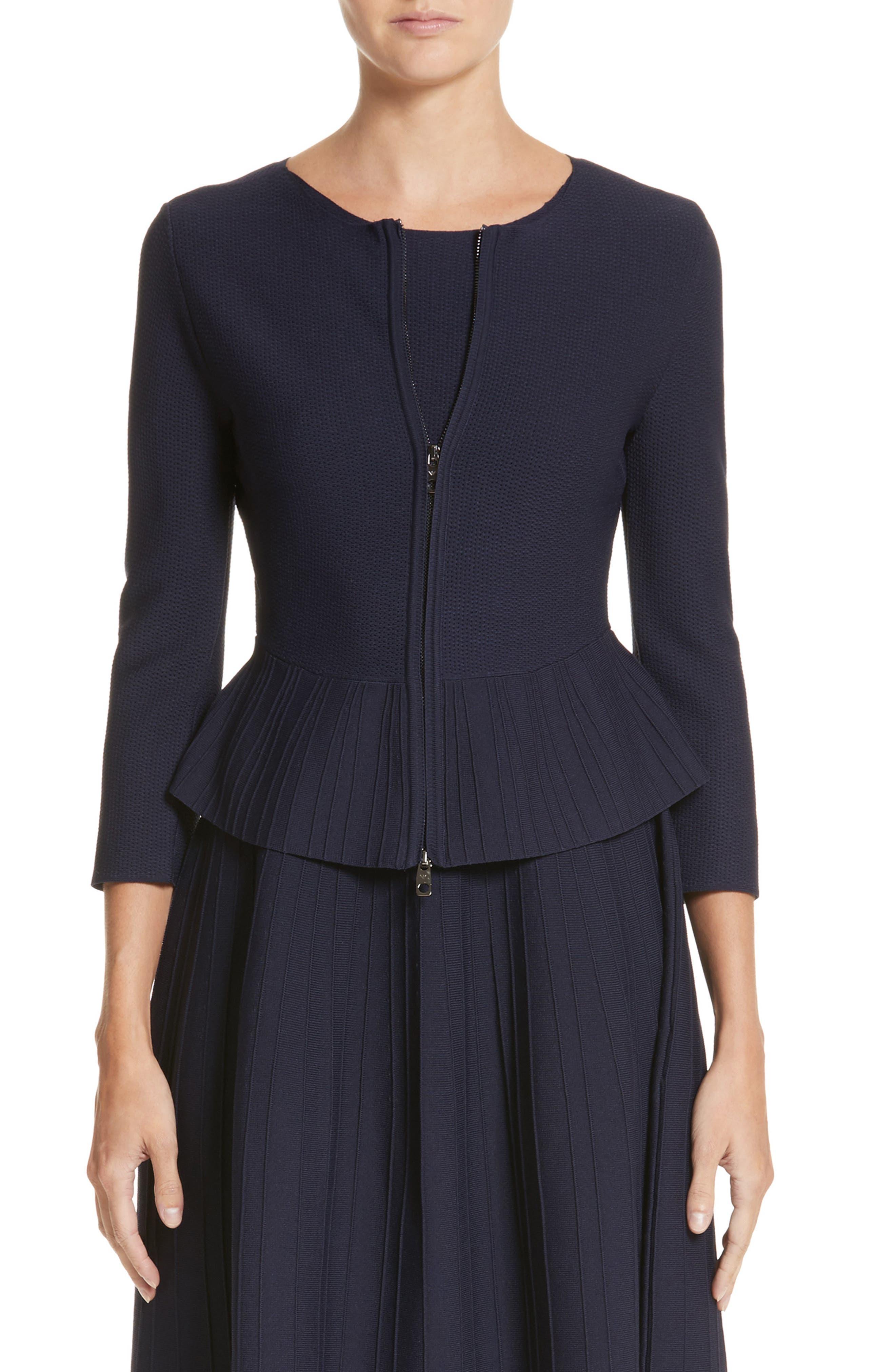 Emporio Armani Zip Front Peplum Knit Jacket