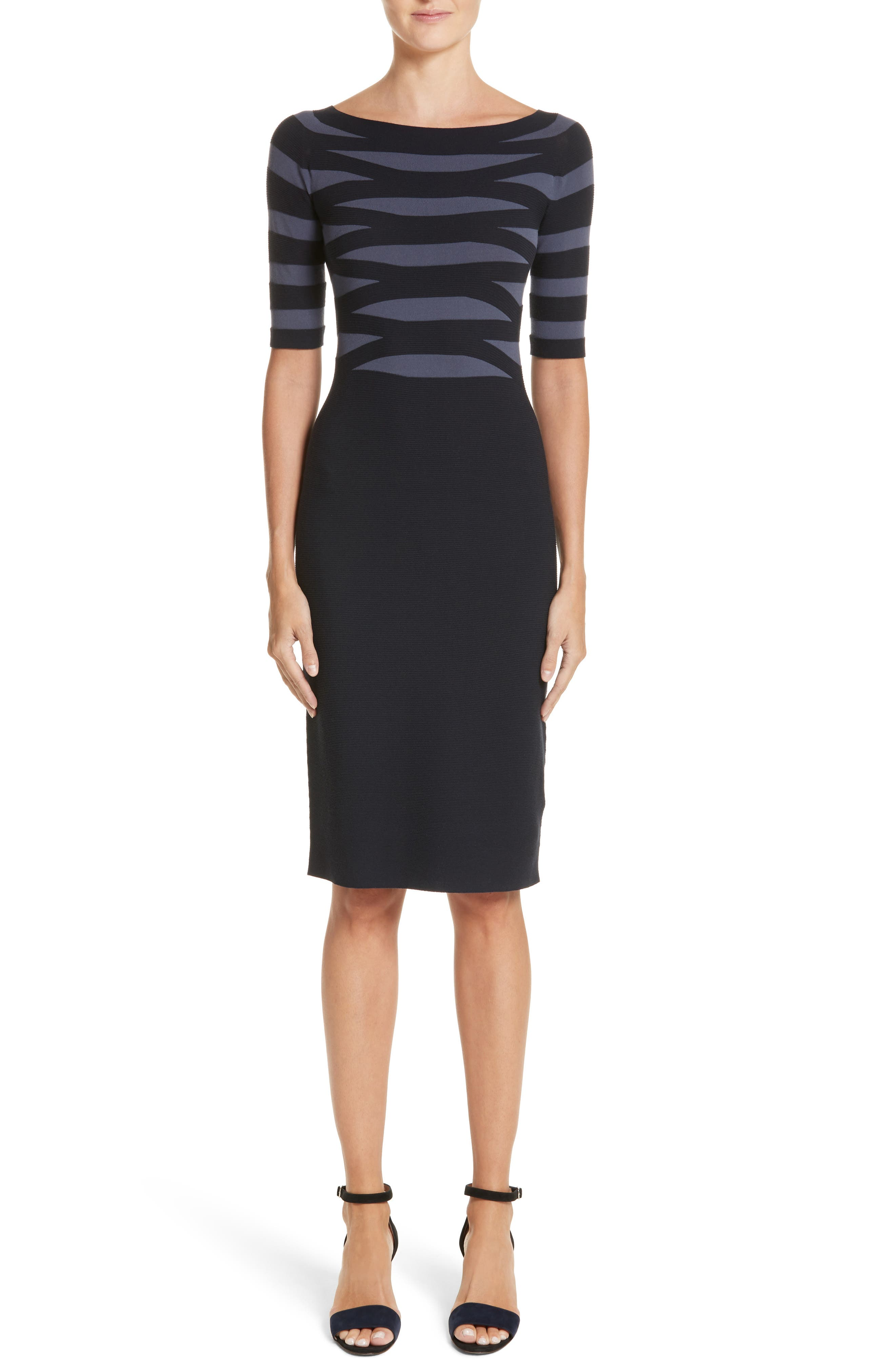 Graphic Stripe Knit Dress,                             Main thumbnail 1, color,                             Indigo Night