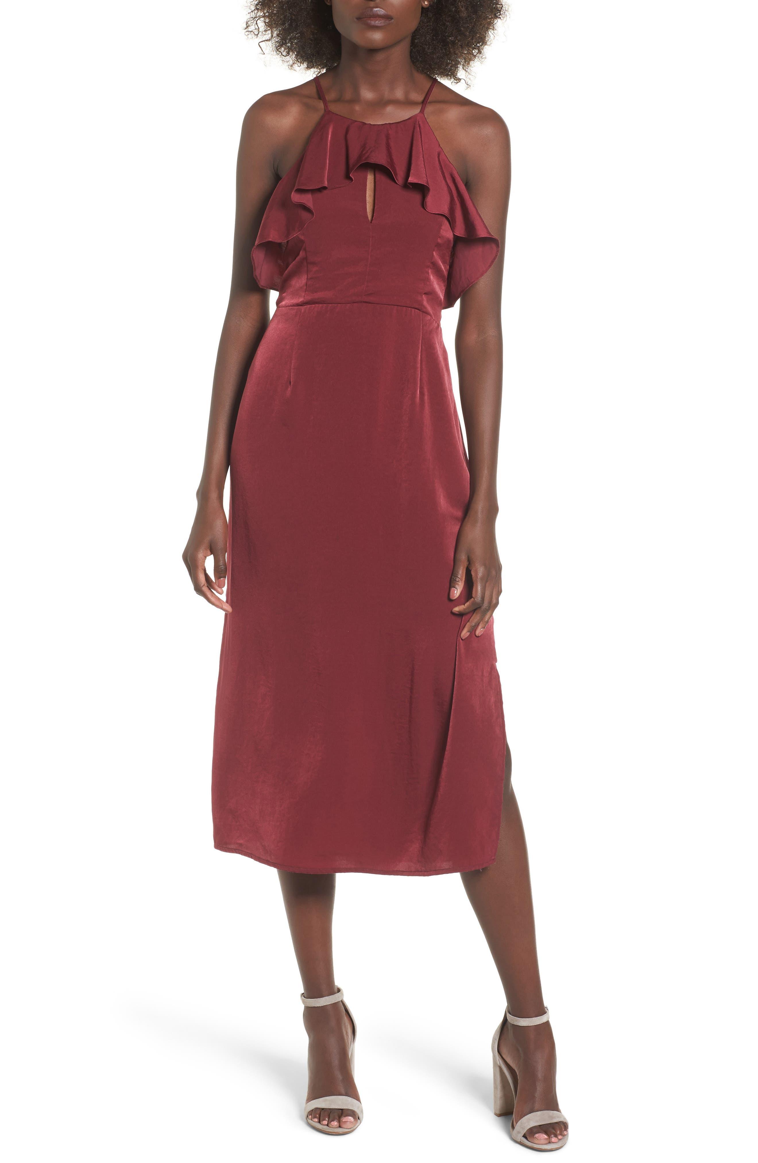 Ruffle Neck Satin Midi Dress,                         Main,                         color, Burgundy