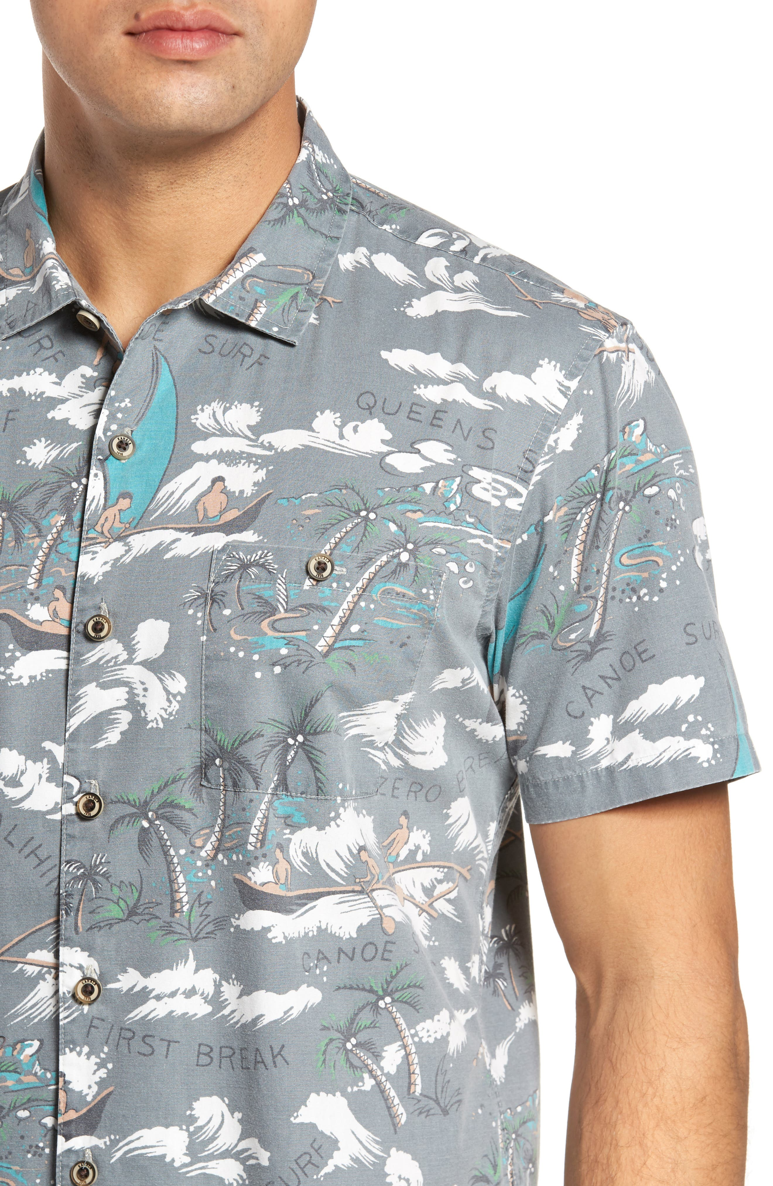 Malihini Trim Fit Print Sport Shirt,                             Alternate thumbnail 4, color,                             Grey