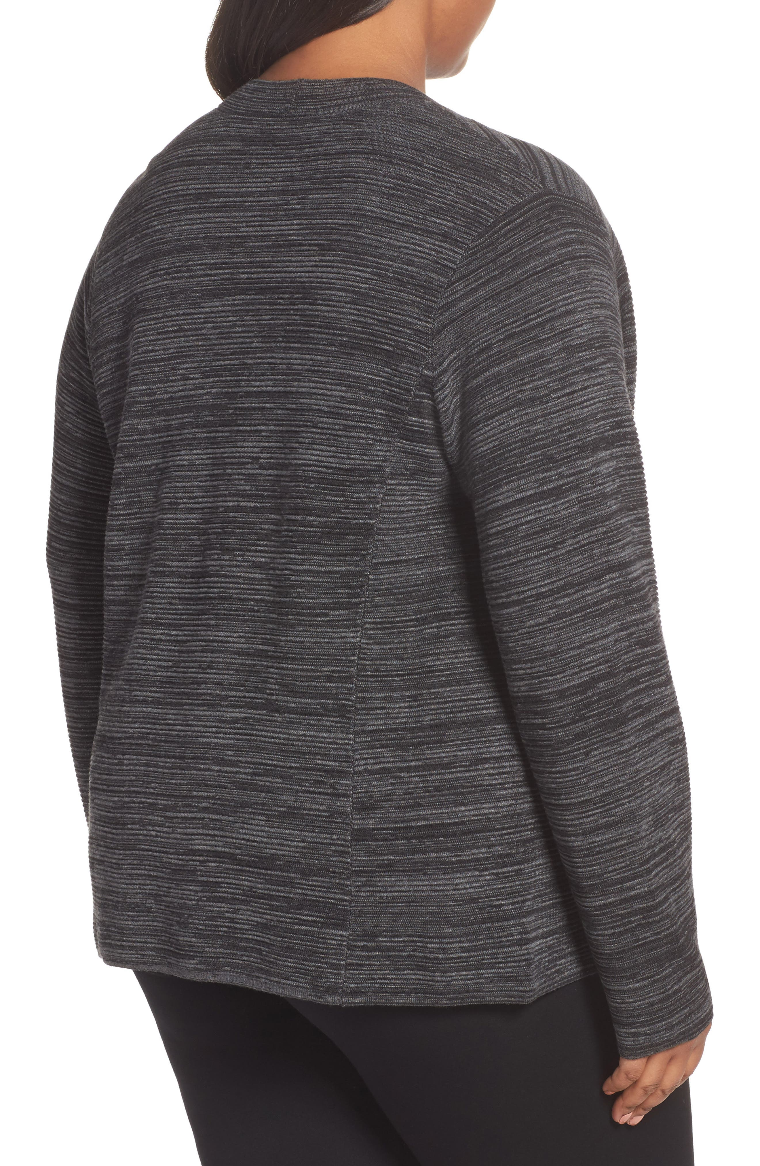 Tencel<sup>®</sup> & Organic Cotton Cardigan,                             Alternate thumbnail 2, color,                             Black