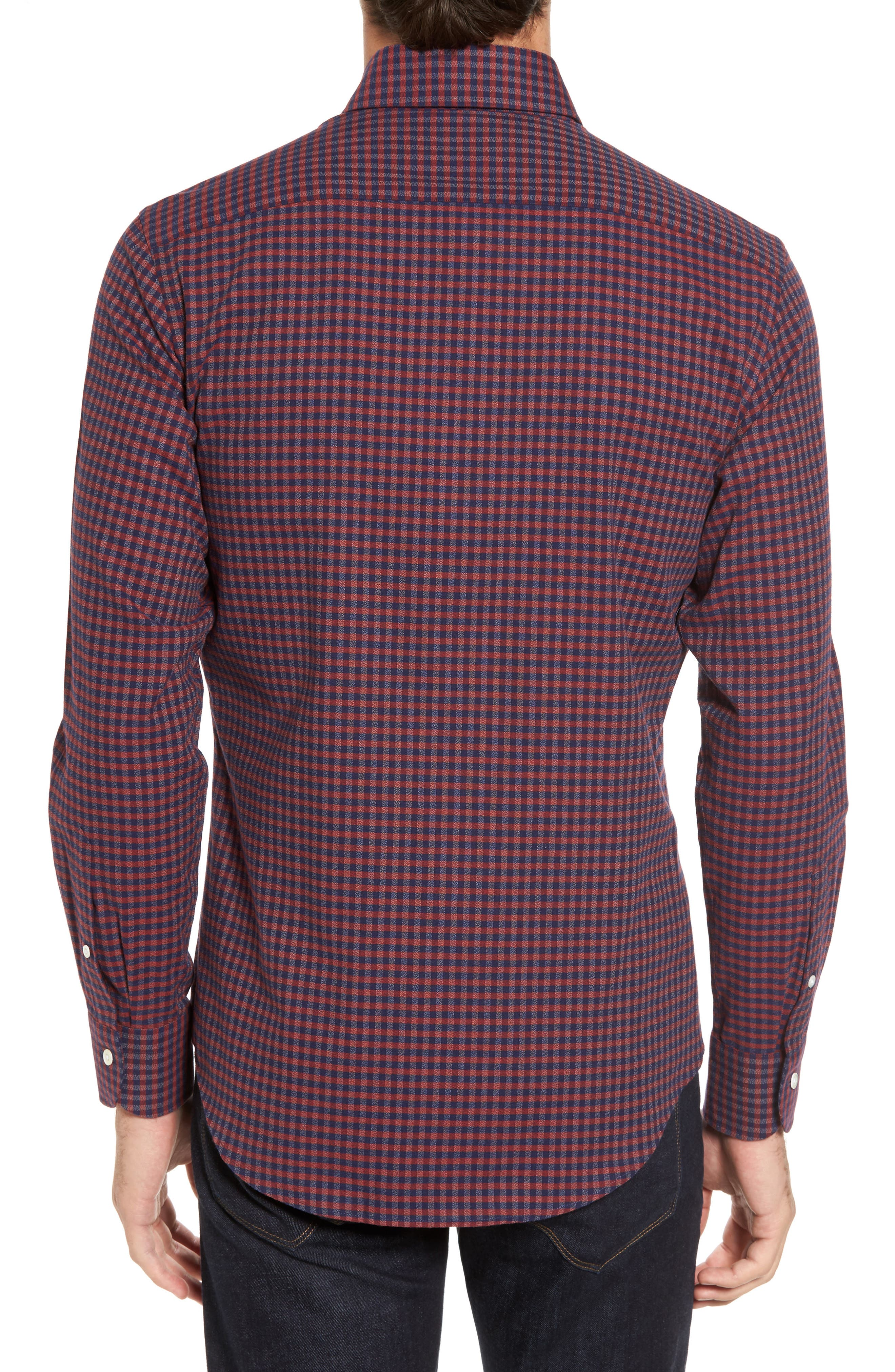 Slim Fit Check Sport Shirt,                             Alternate thumbnail 2, color,                             Red