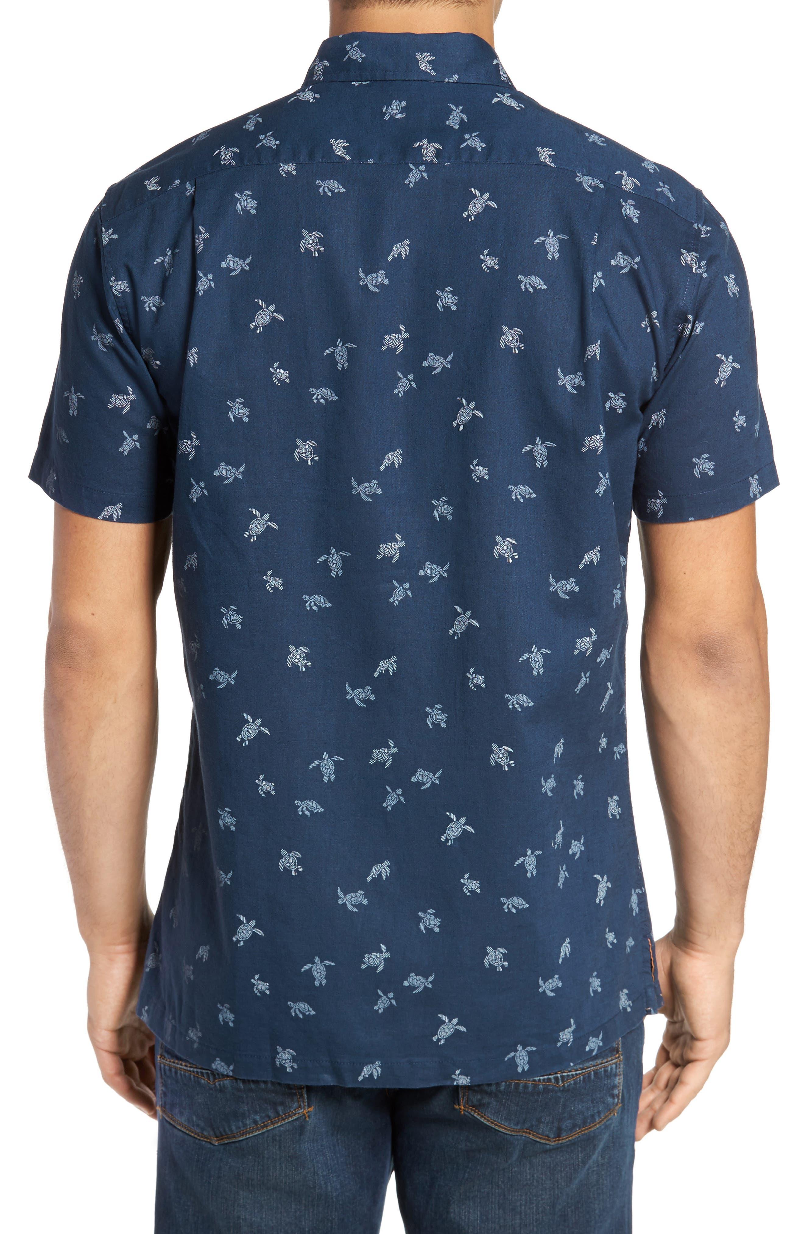 Honu La Hanai Trim Fit Print Sport Shirt,                             Alternate thumbnail 2, color,                             Navy