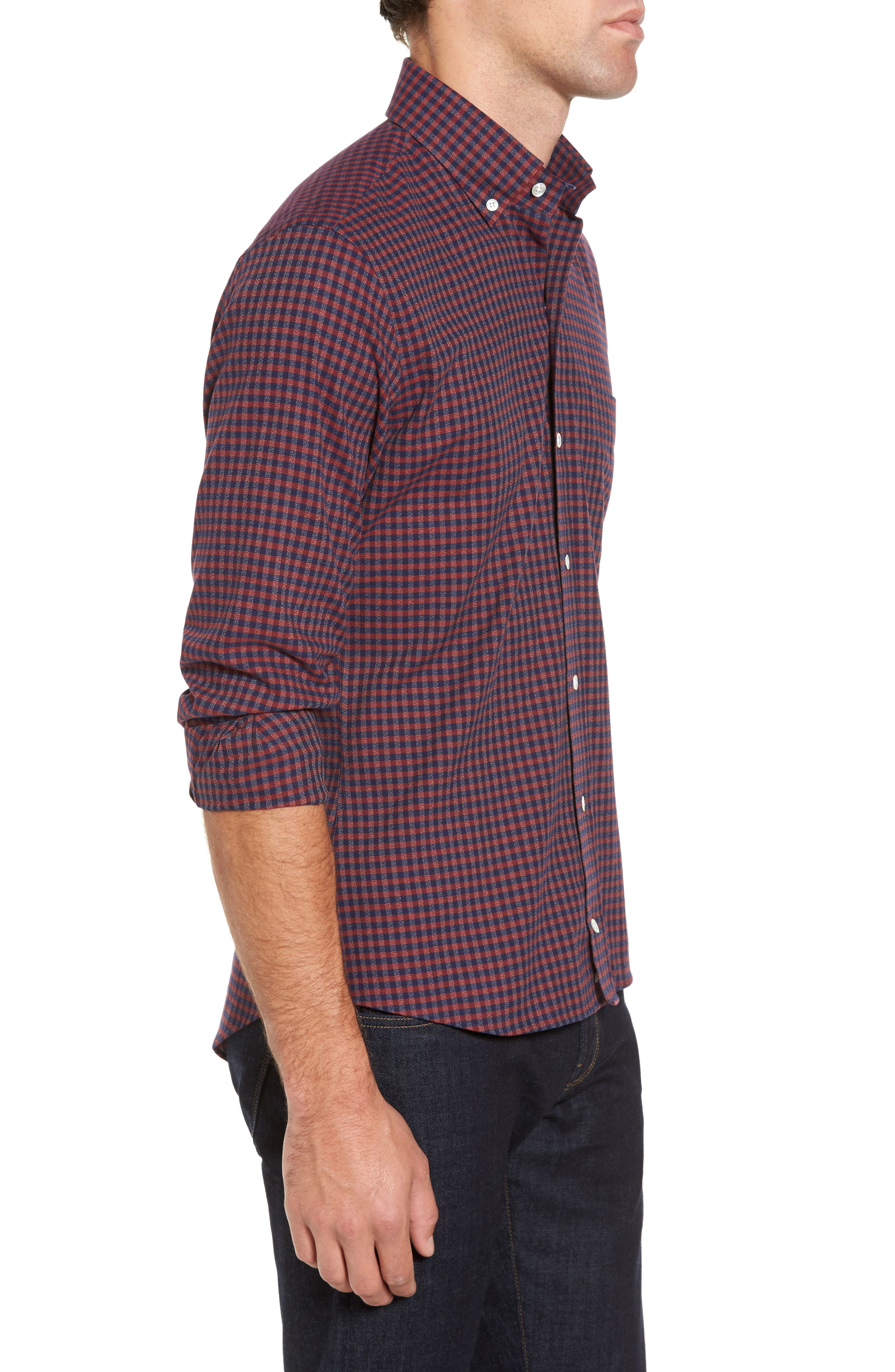 Slim Fit Check Sport Shirt,                             Alternate thumbnail 3, color,                             Red