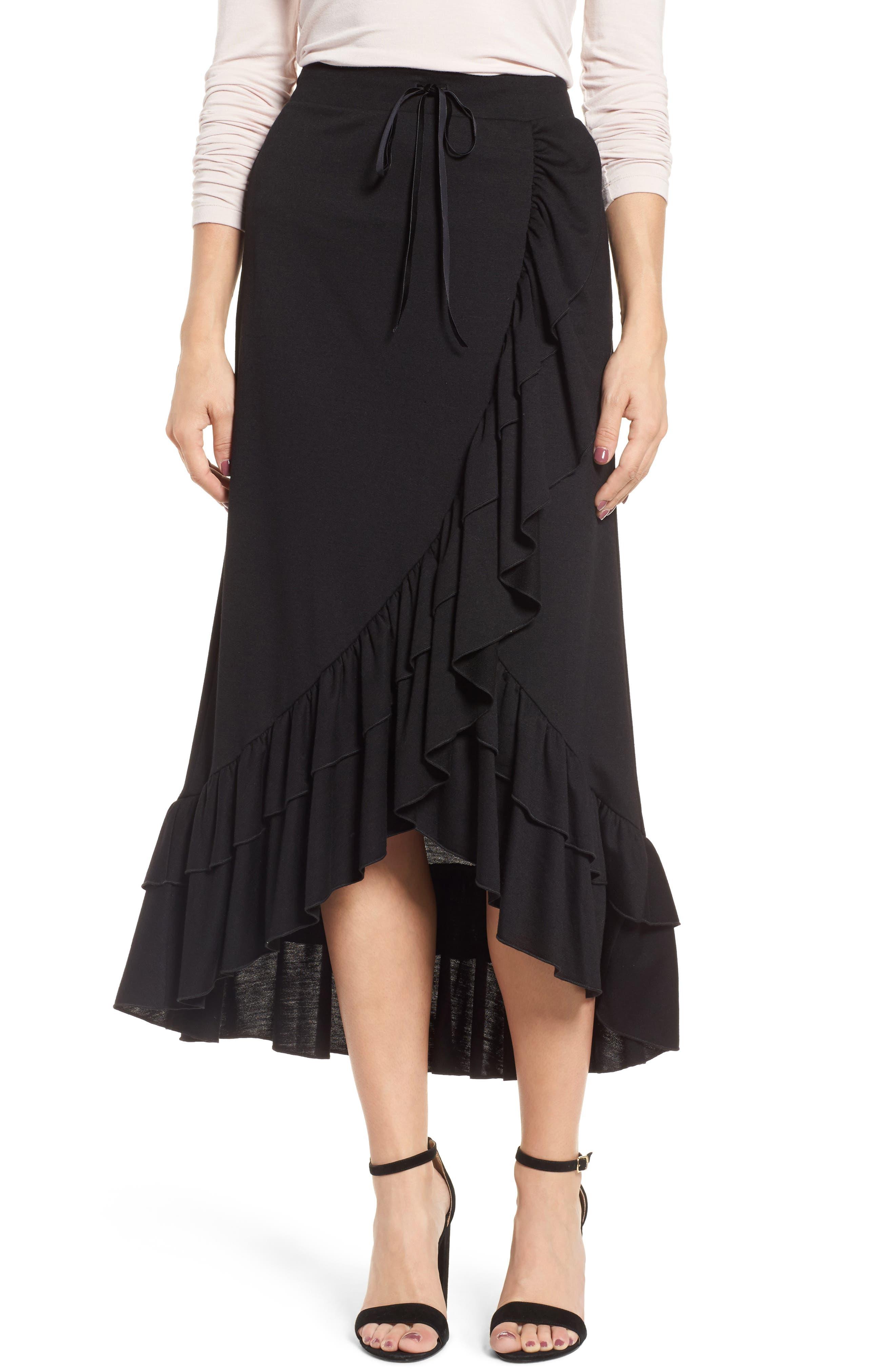 Ruffle Midi Skirt,                         Main,                         color, Black