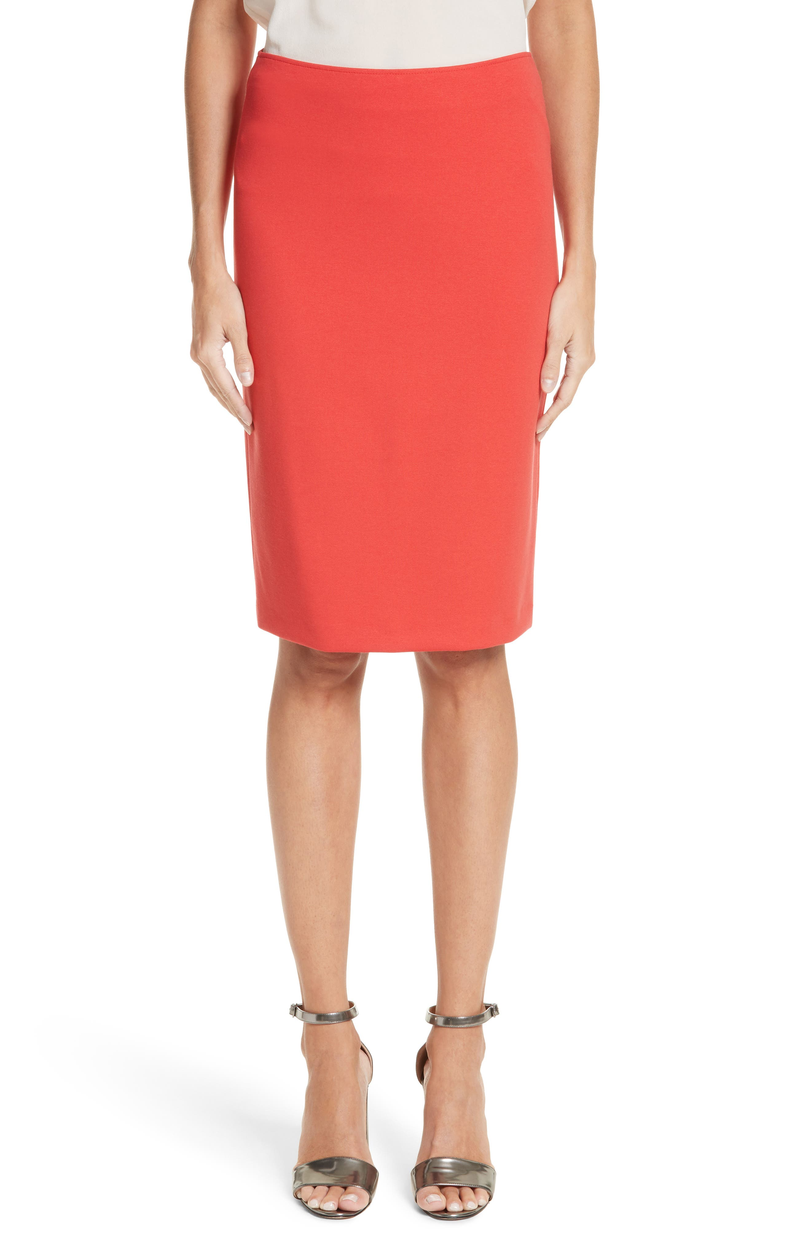 Milano Jersey Pencil Skirt,                             Main thumbnail 1, color,                             Solid Bright Orange