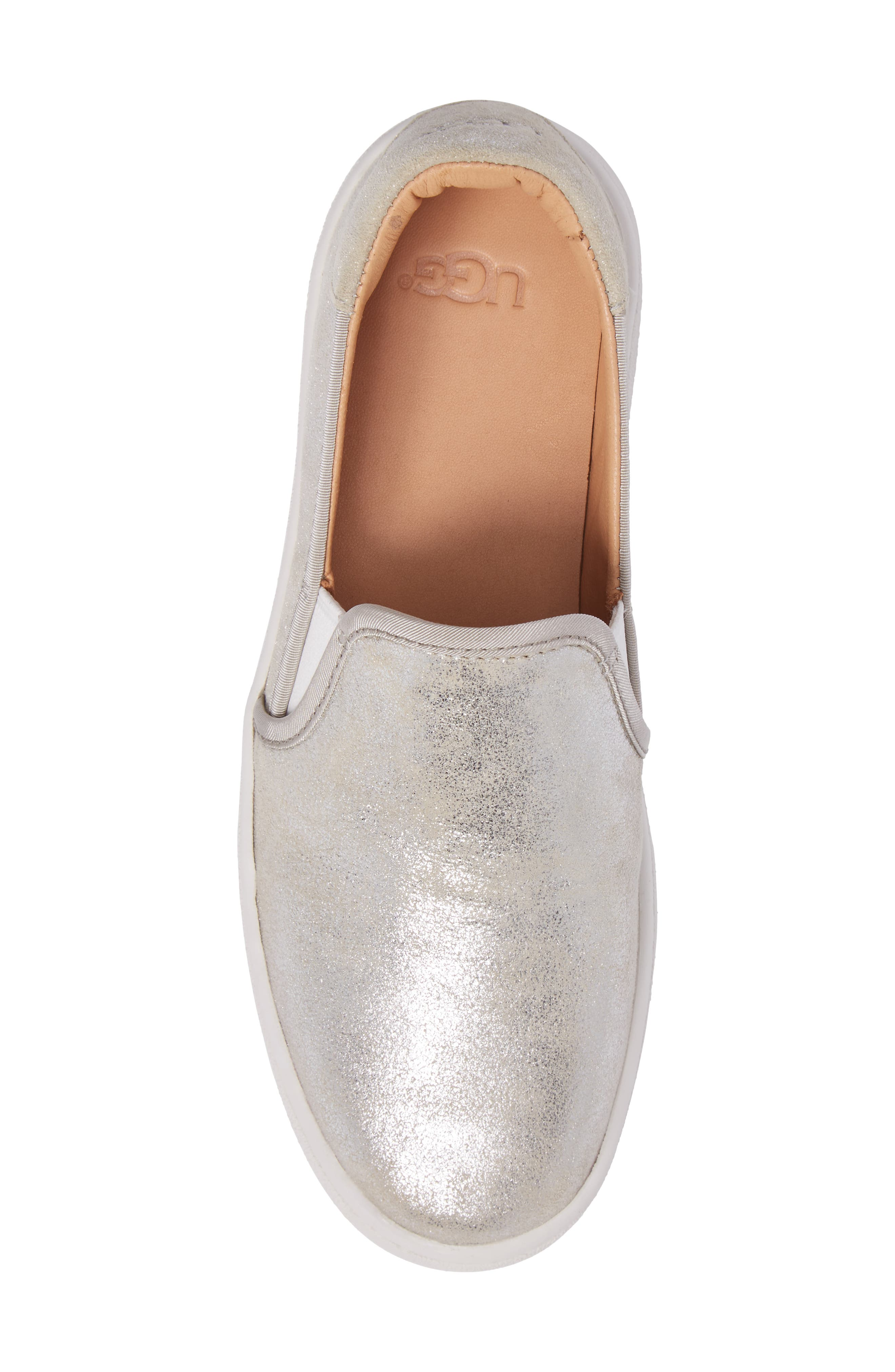 Cas Stardust Slip-On Sneaker,                             Alternate thumbnail 5, color,                             Silver Leather
