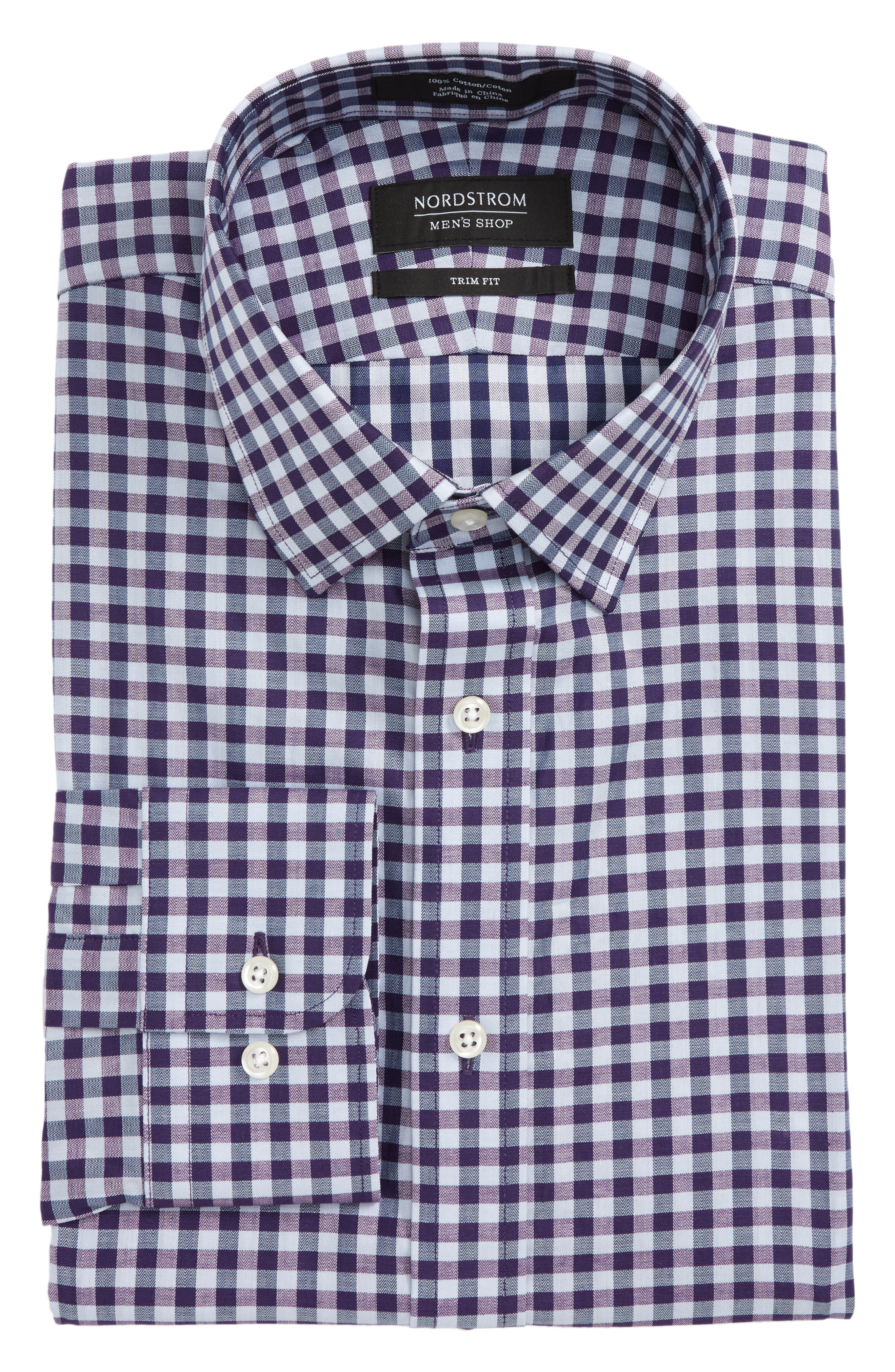 Trim Fit Check Dress Shirt,                         Main,                         color, Purple Paisley