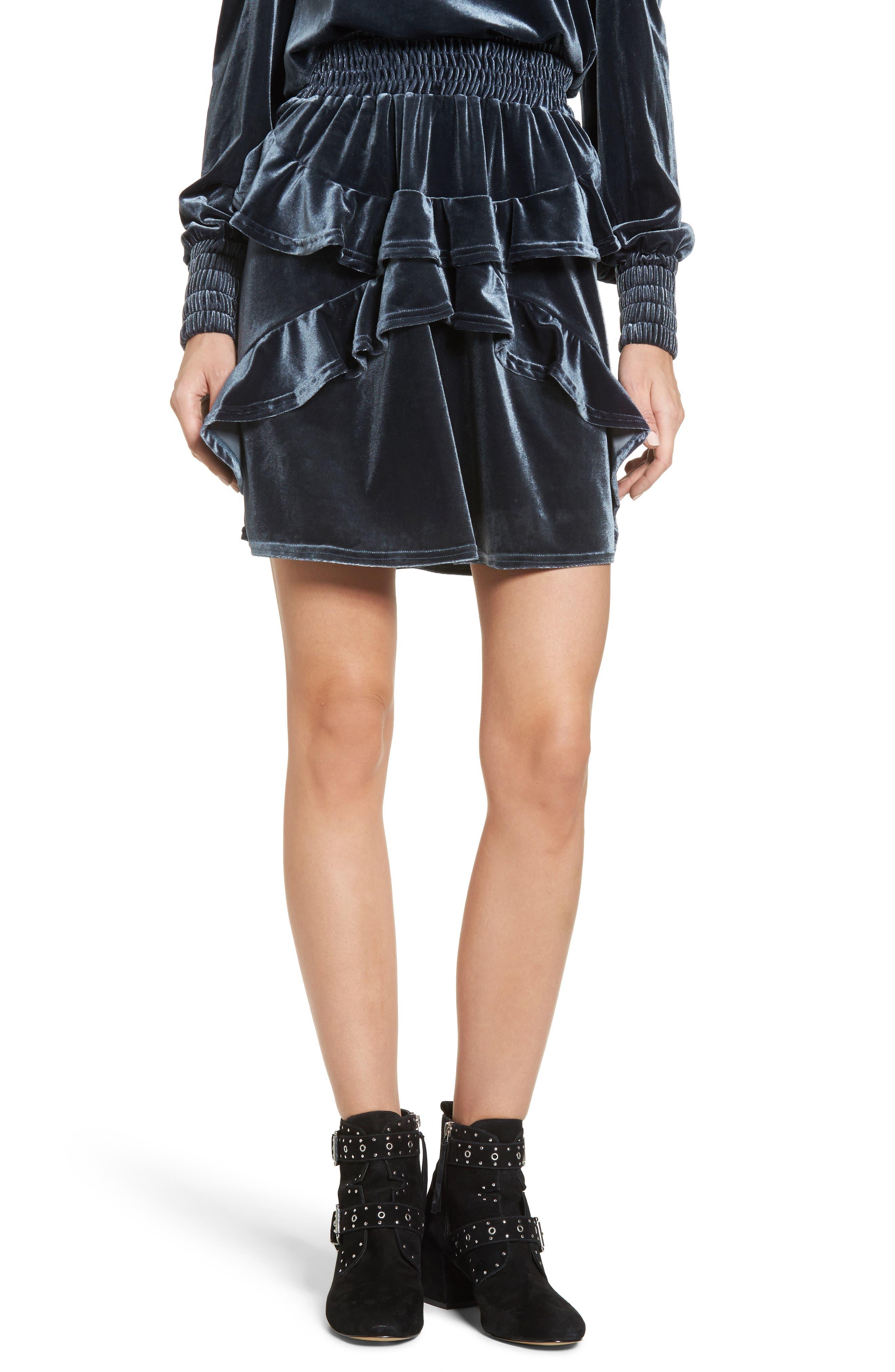 Exhibition Ruffle Velvet Skirt,                             Main thumbnail 1, color,                             Slate