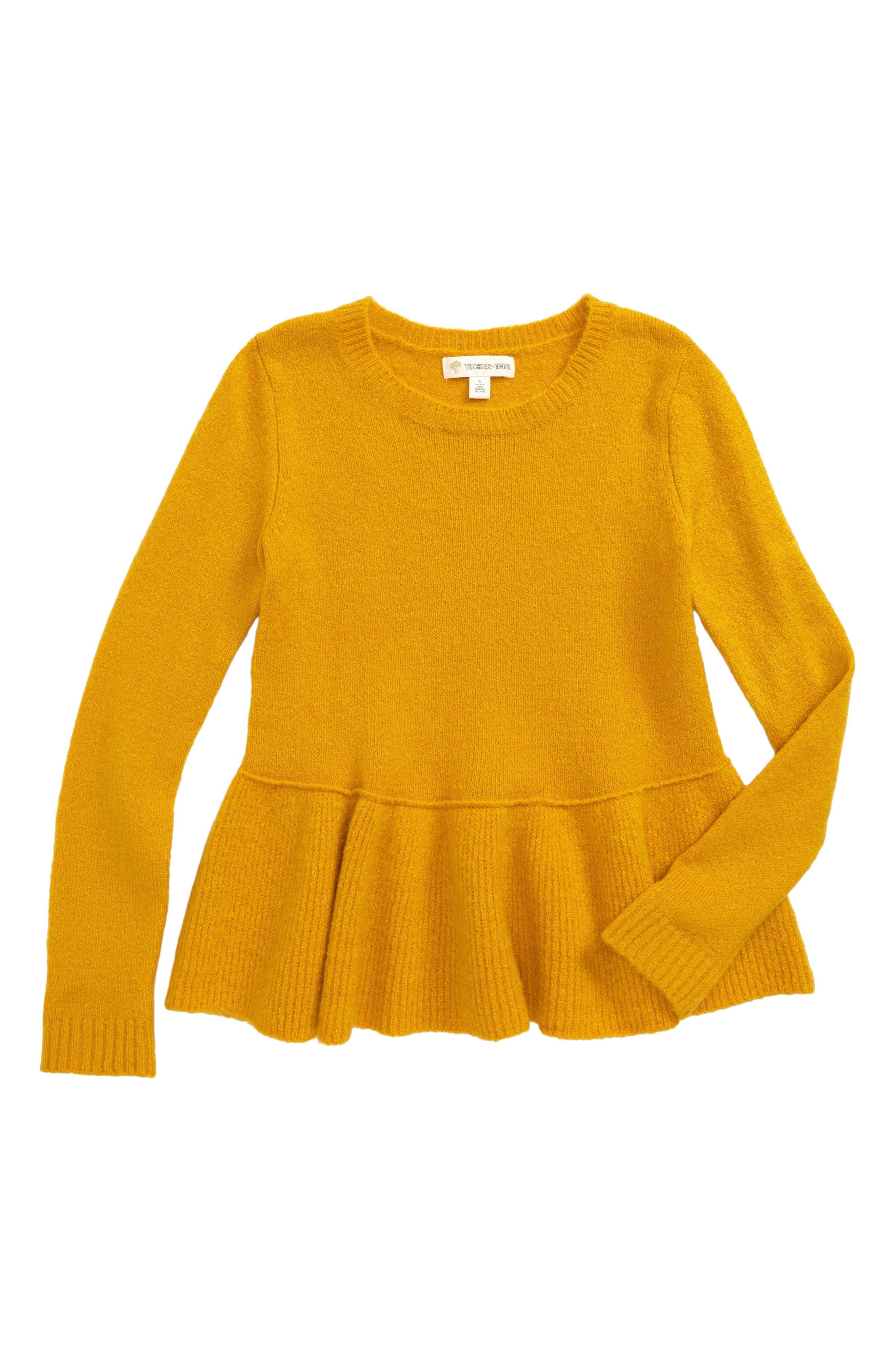 Ruffle Hem Sweater,                         Main,                         color, Yellow Nugget