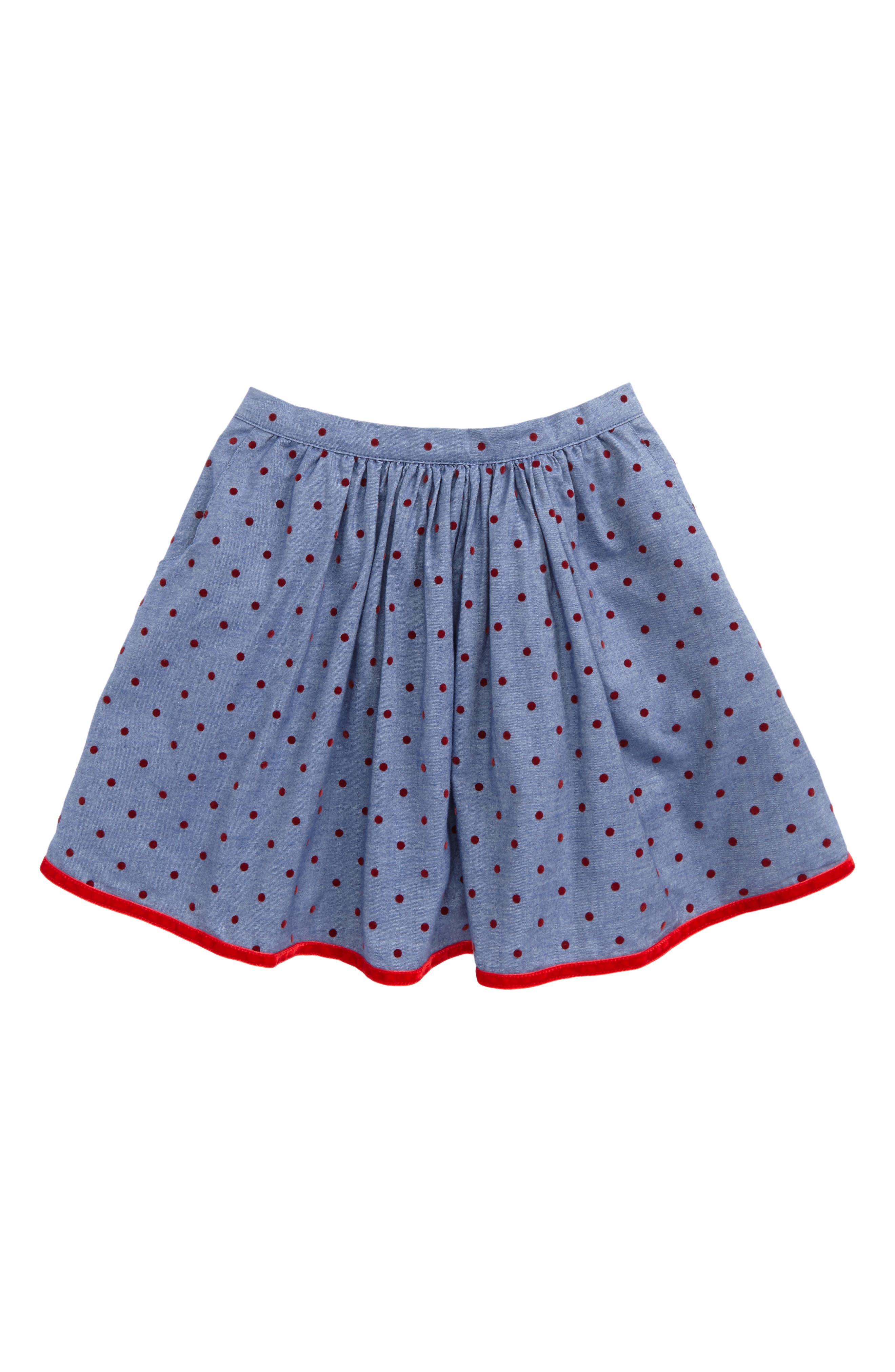 Pretty Twirly Skirt,                         Main,                         color, Chambray/ Ladybird Red Spot
