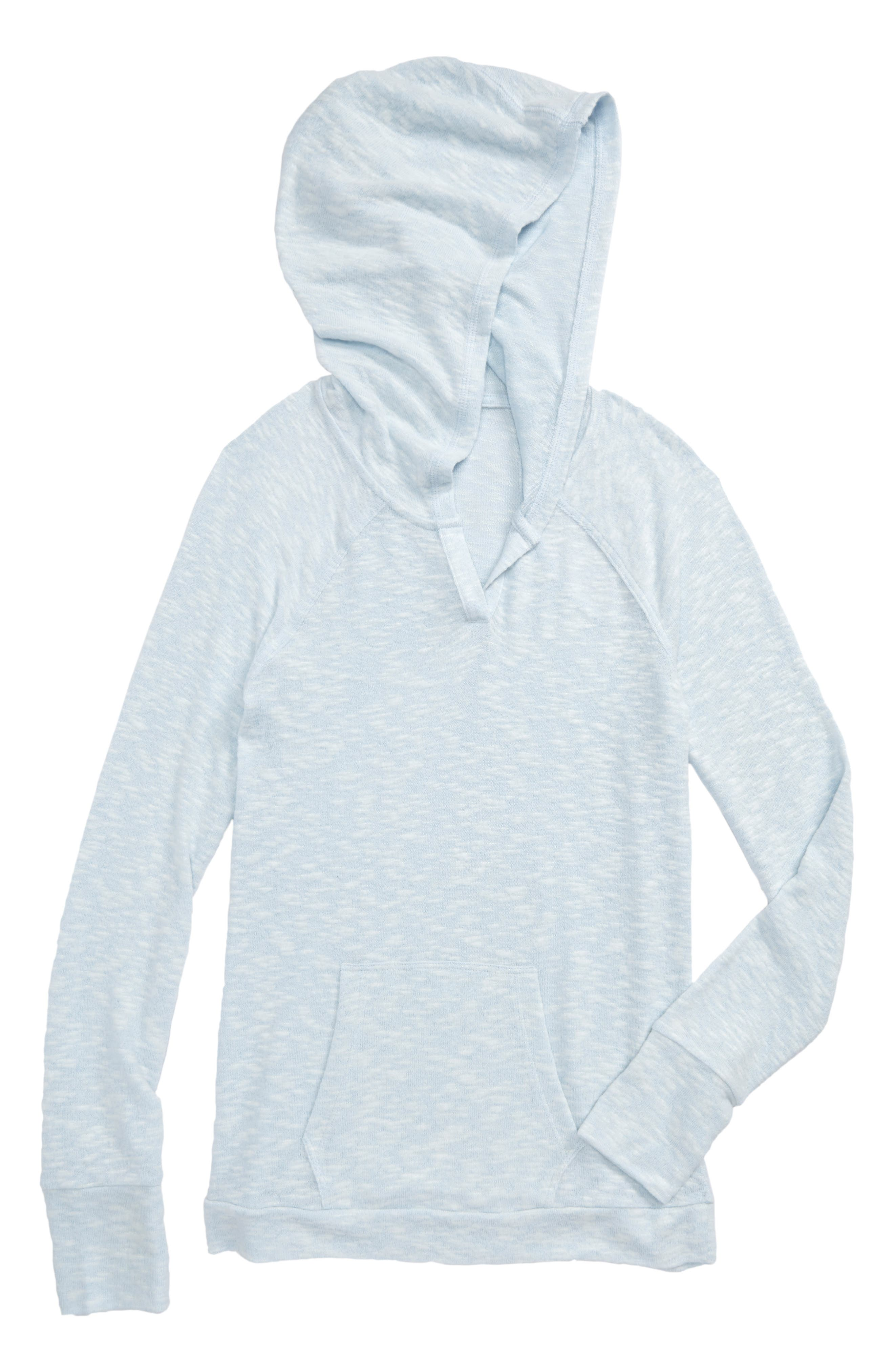 Vinyasa Cutout Hooded Pullover,                         Main,                         color, Blue Omphalodes- White