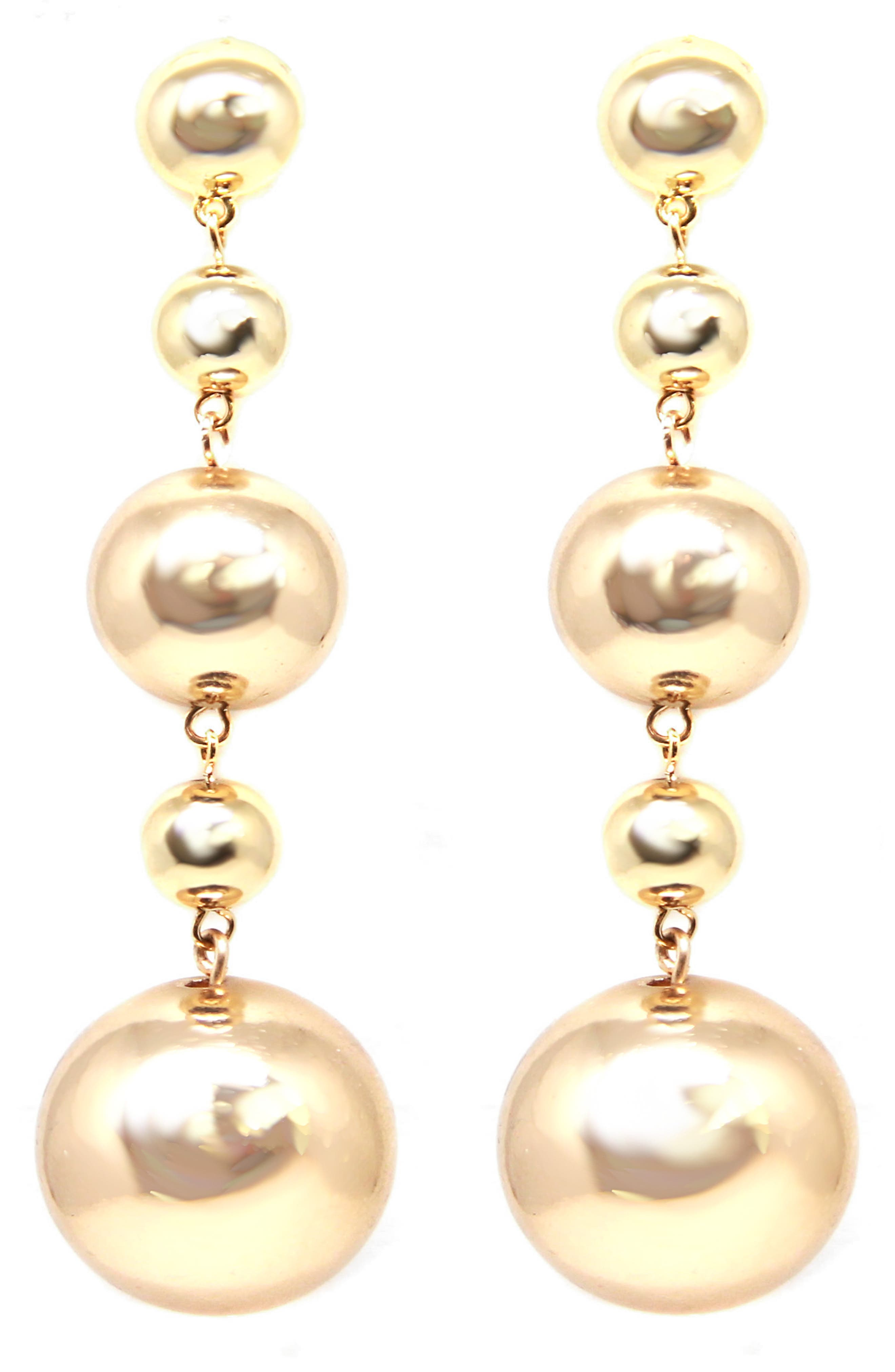 Ball Drop Earrings,                         Main,                         color, Gold