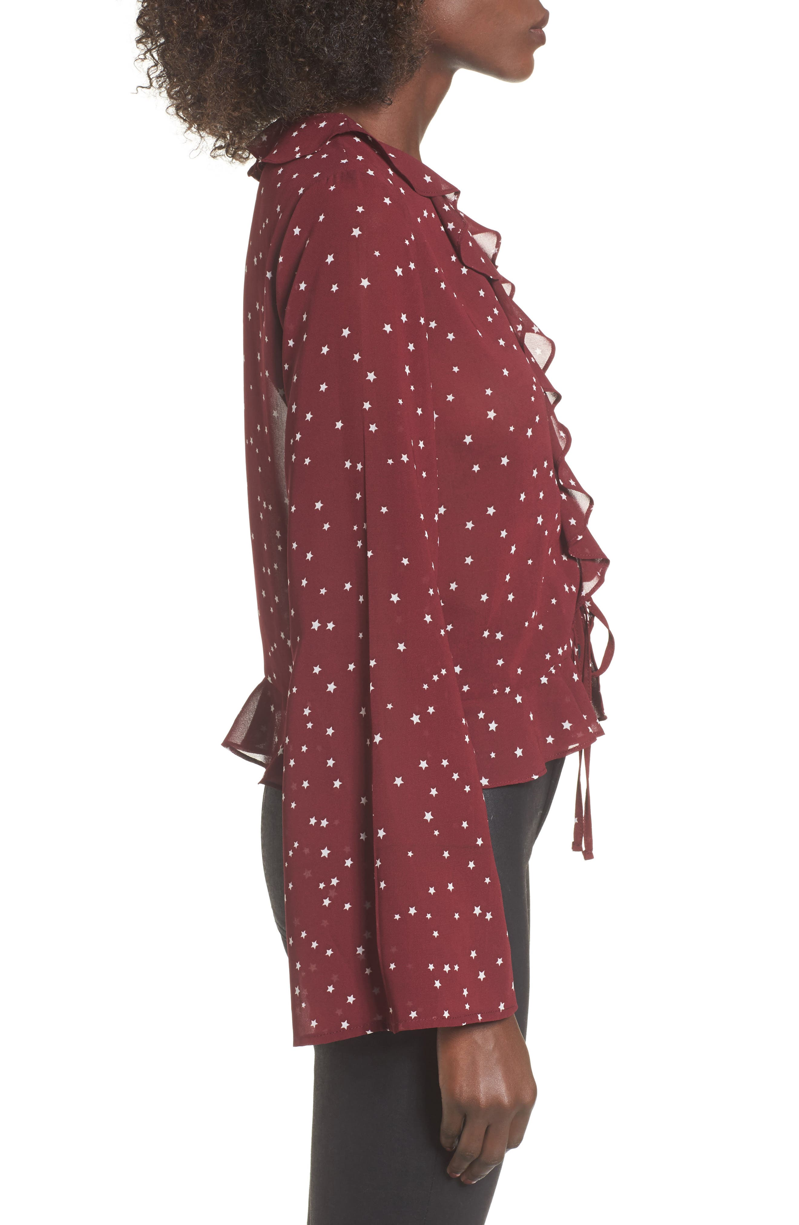 Star Print Ruffle Lace-Up Top,                             Alternate thumbnail 3, color,                             Burgundy Star