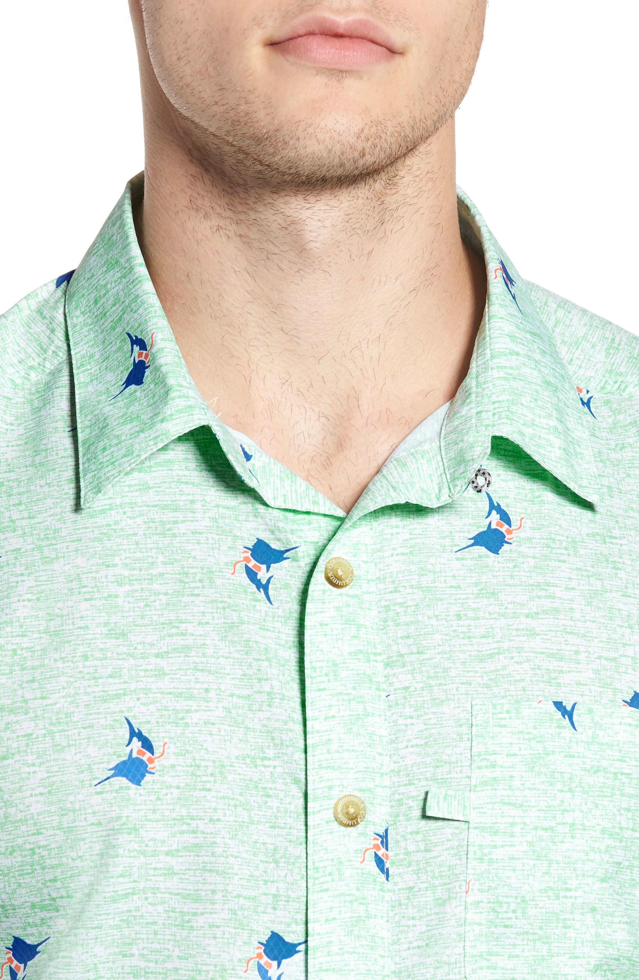 Super Slack Tide Patterned Woven Shirt,                             Alternate thumbnail 4, color,                             Kelp Marlin Print