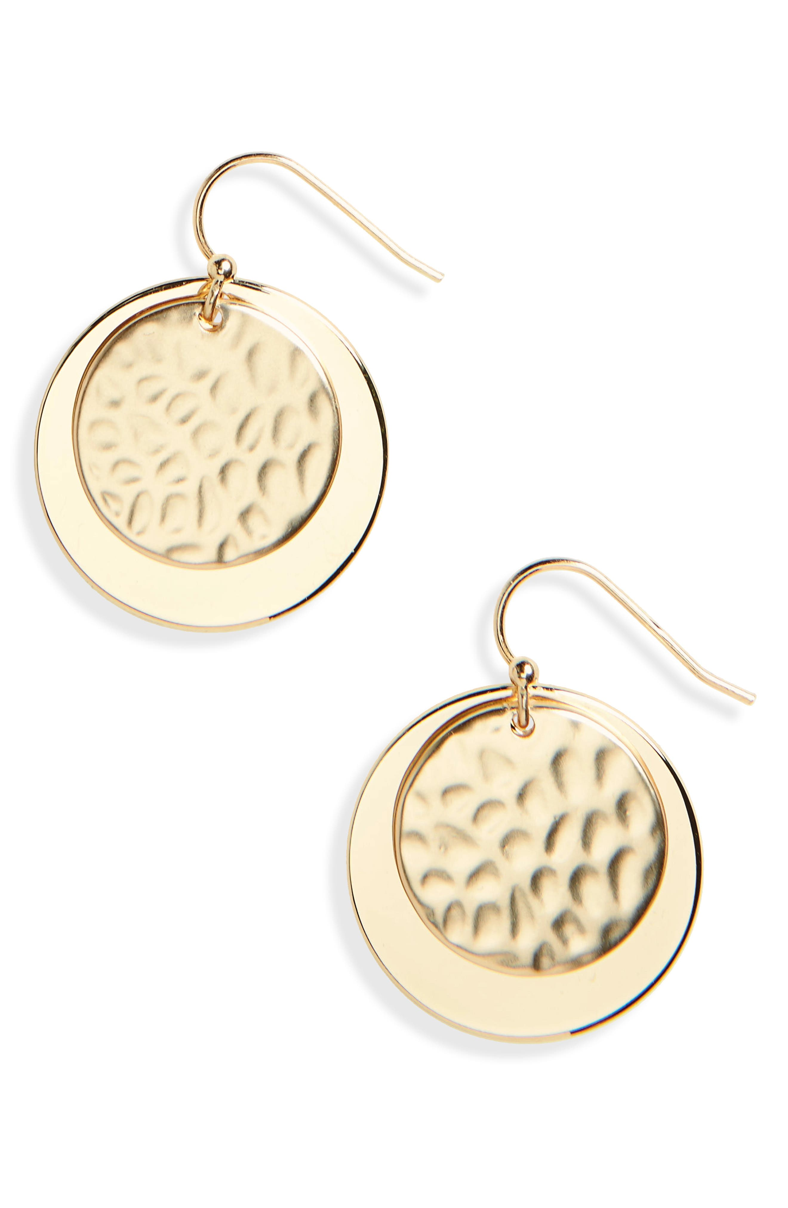 Hammered Metal Double Disc Earrings,                         Main,                         color, Worn Gold