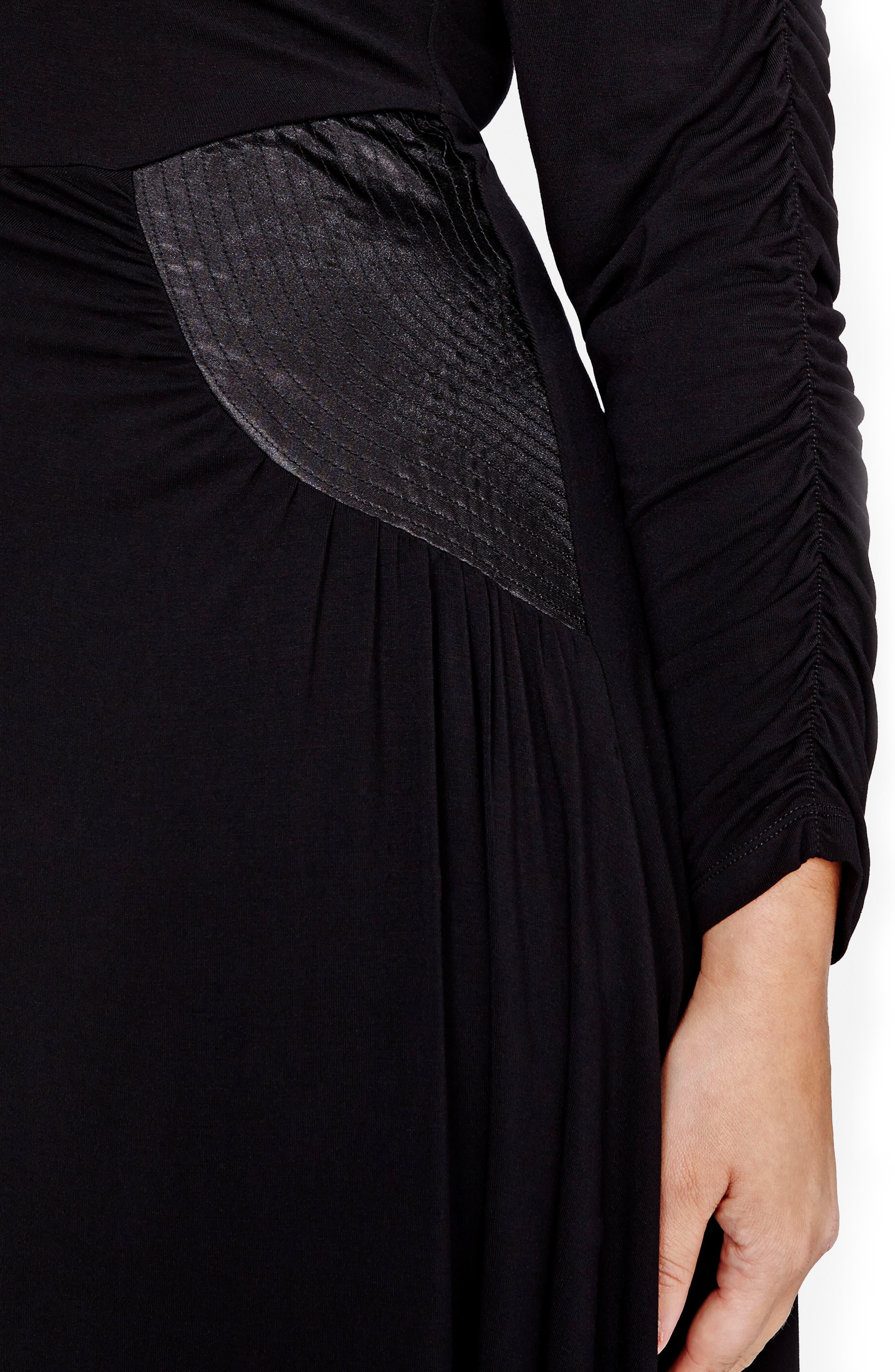 V-Neck Asymmetrical Dress,                             Alternate thumbnail 3, color,                             Black
