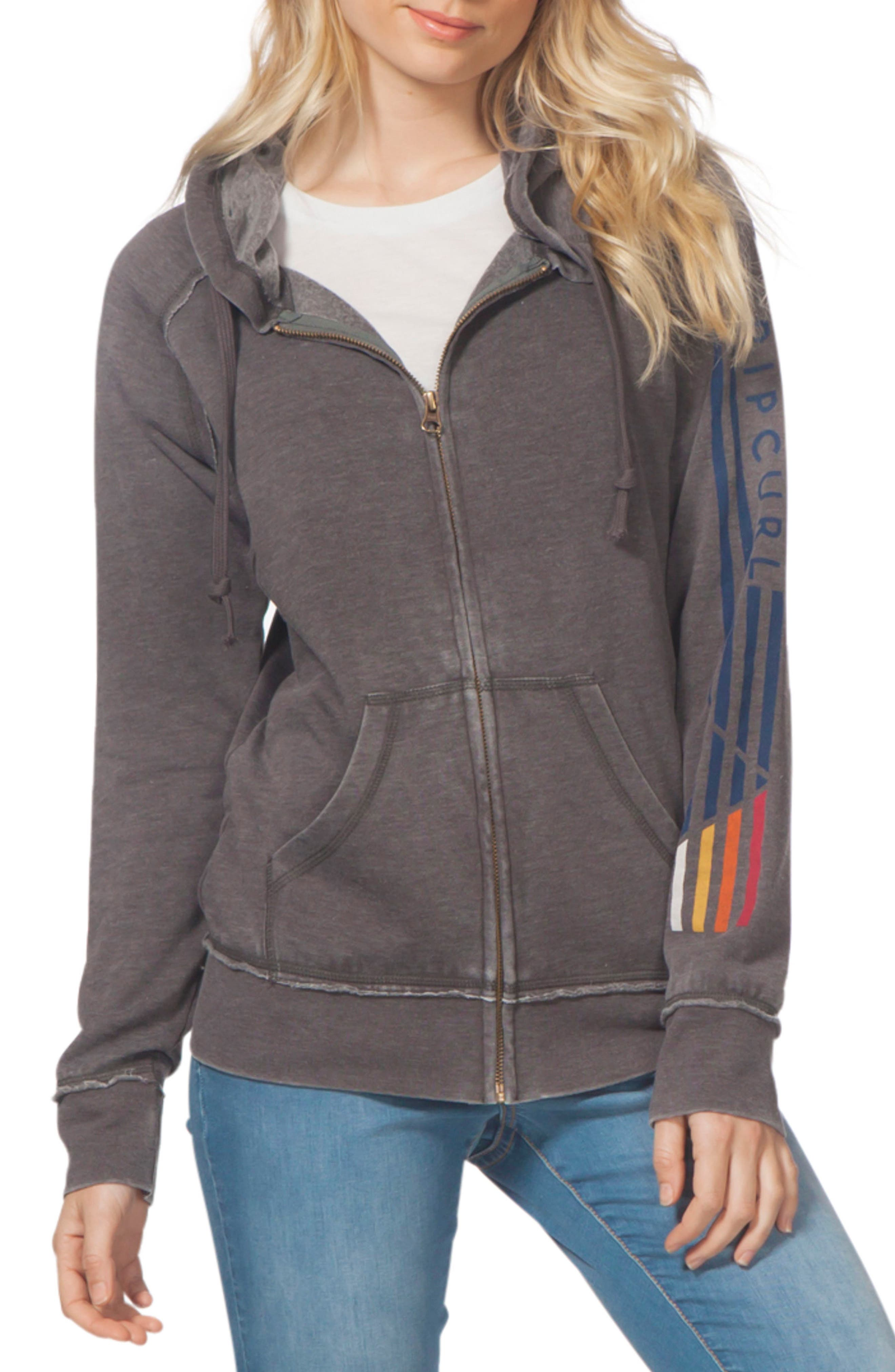 Slow Motion Zip Hoodie,                         Main,                         color, Charcoal