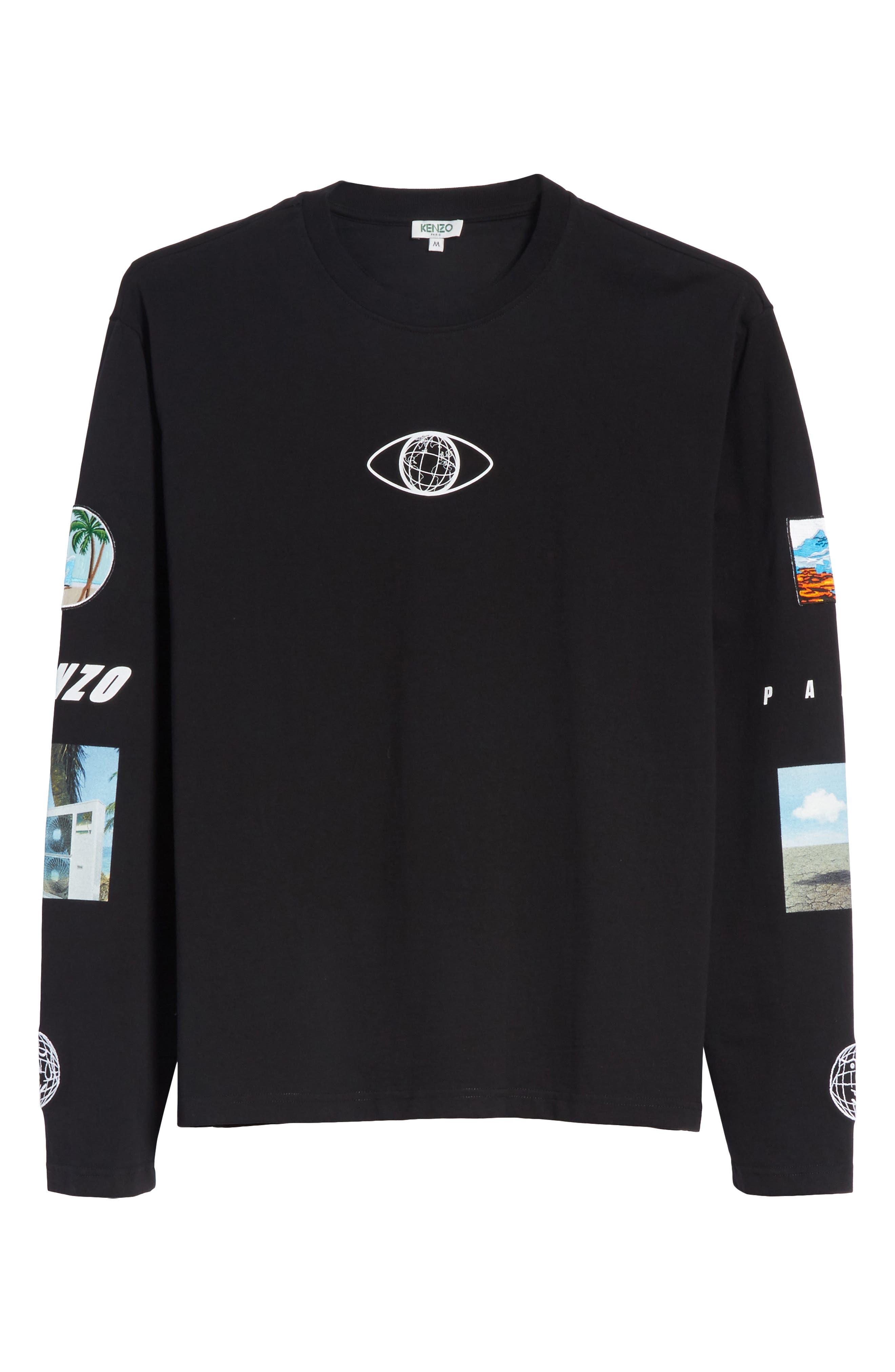 Landscape Long Sleeve T-Shirt,                             Alternate thumbnail 6, color,                             Black