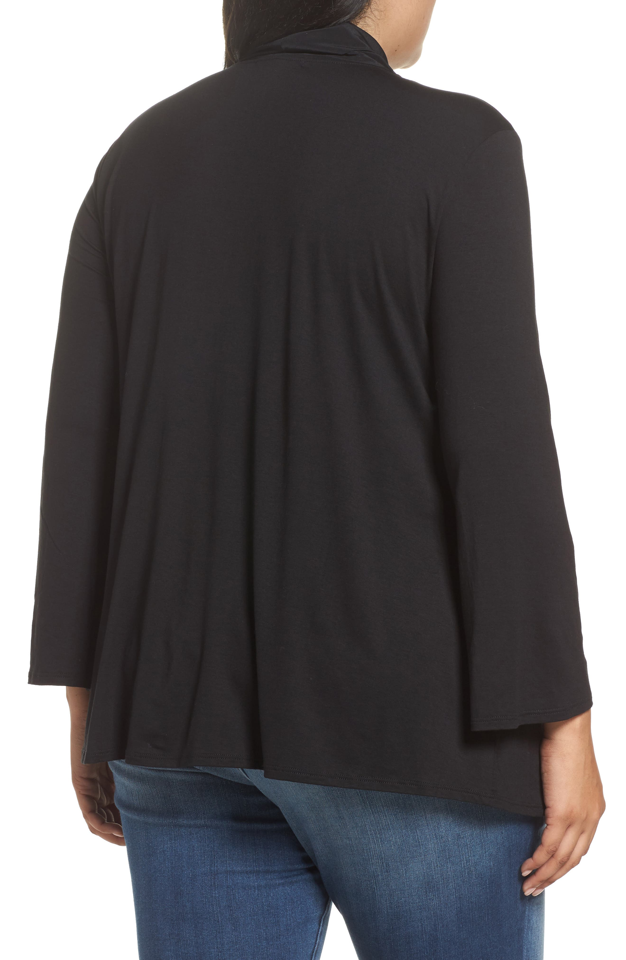 Alternate Image 2  - Three Dots Tie Neck Jersey Top (Plus Size)