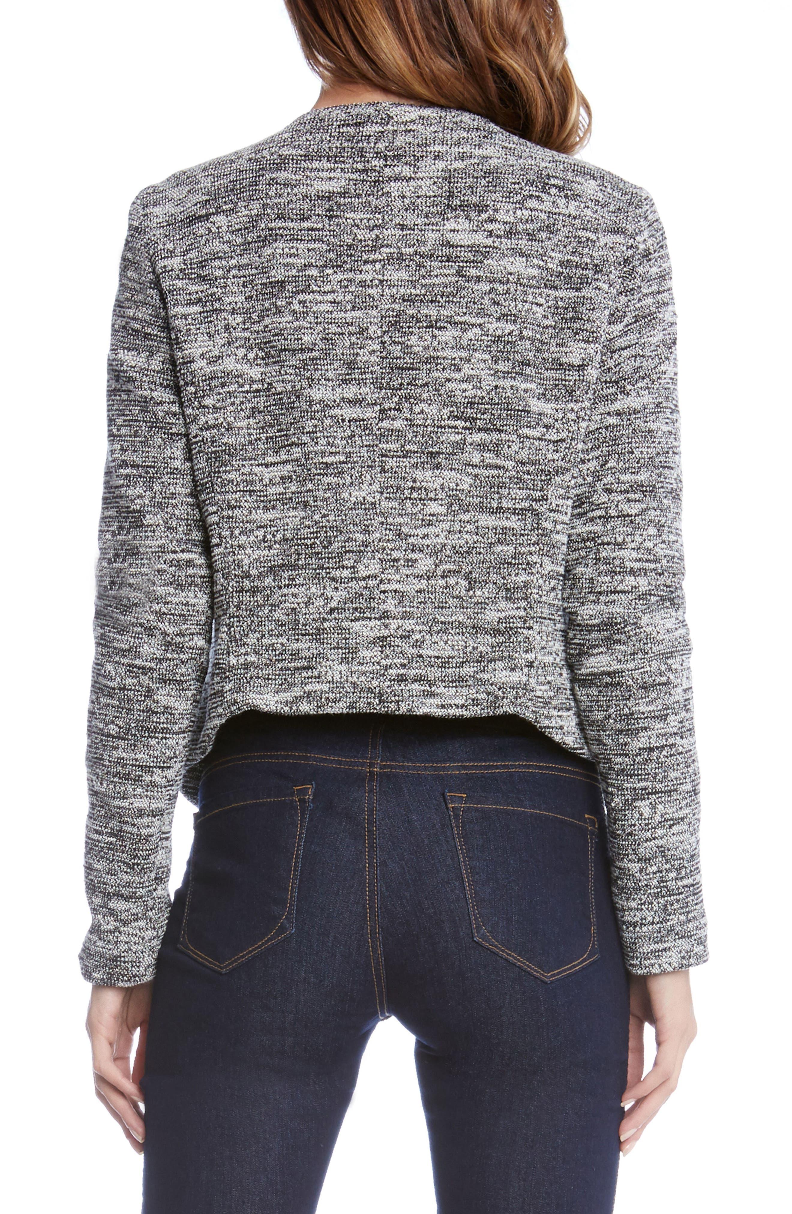 Knit Moto Jacket,                             Alternate thumbnail 2, color,                             Black W/ Cream