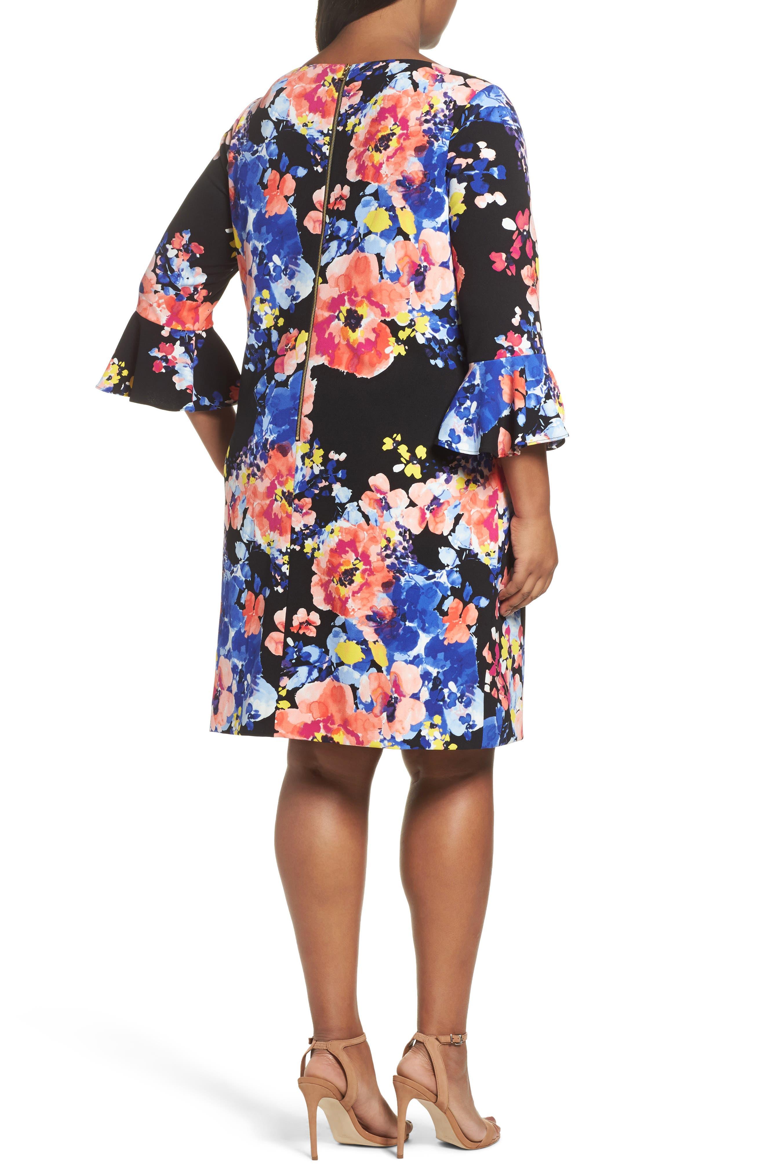 Alternate Image 2  - Tahari Print Ruffle Sleeve Shift Dress (Plus Size)