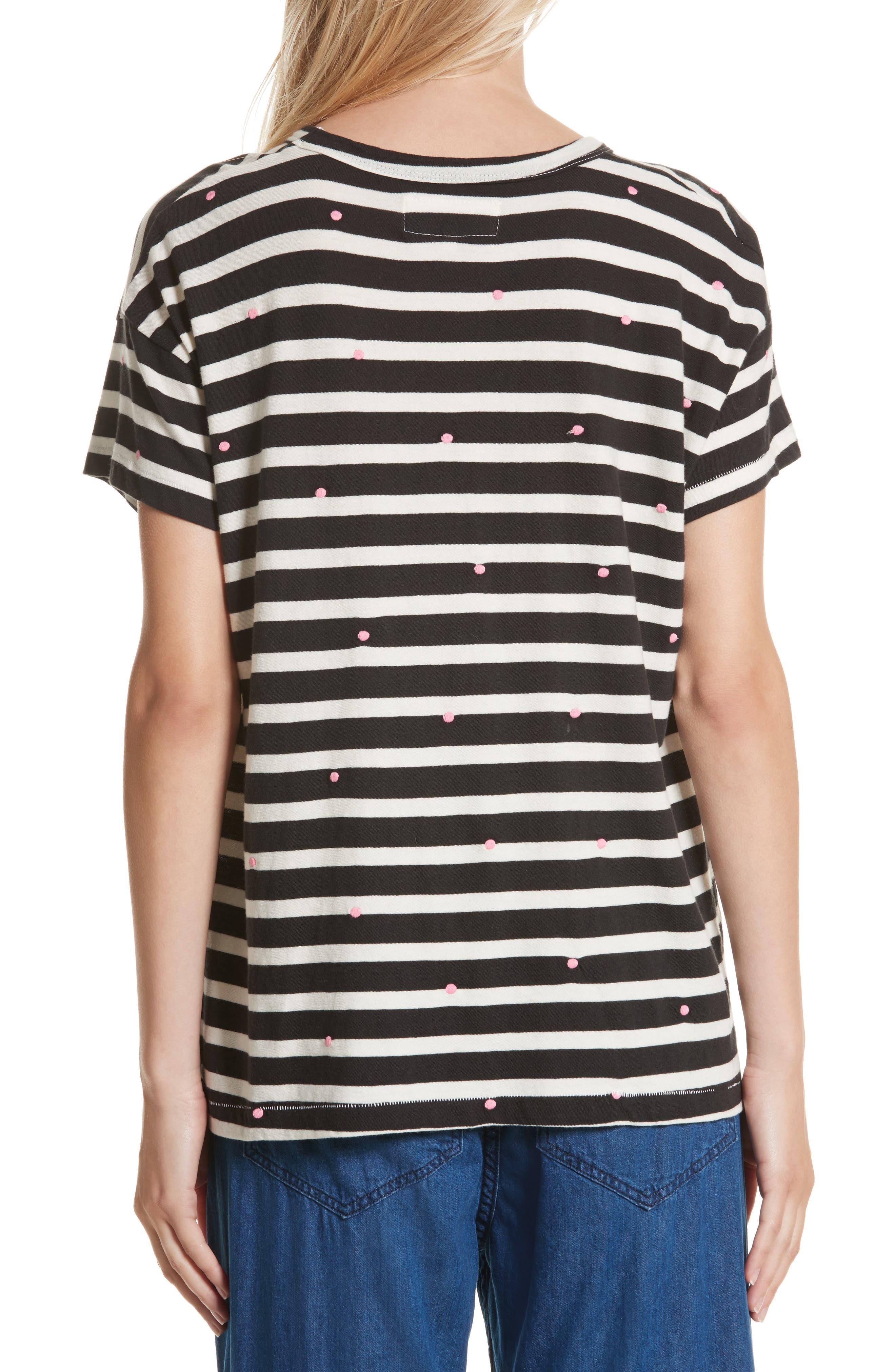 The Boxy Crew Embroidered Dot Tee,                             Alternate thumbnail 3, color,                             Black/ Cream Stripe