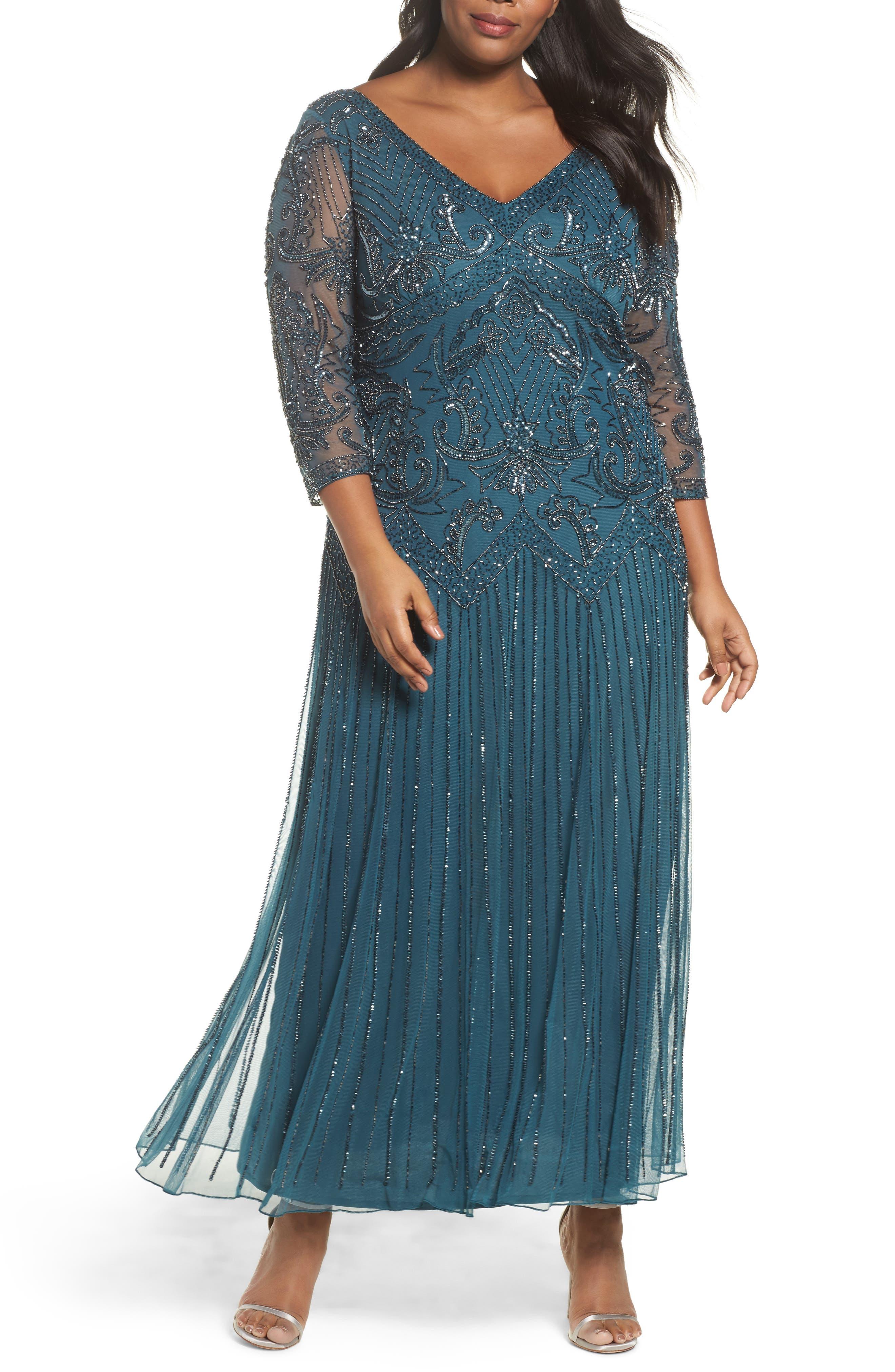 Main Image - Pisarro Nights Embellished Double V-Neck Long Dress (Plus Size)