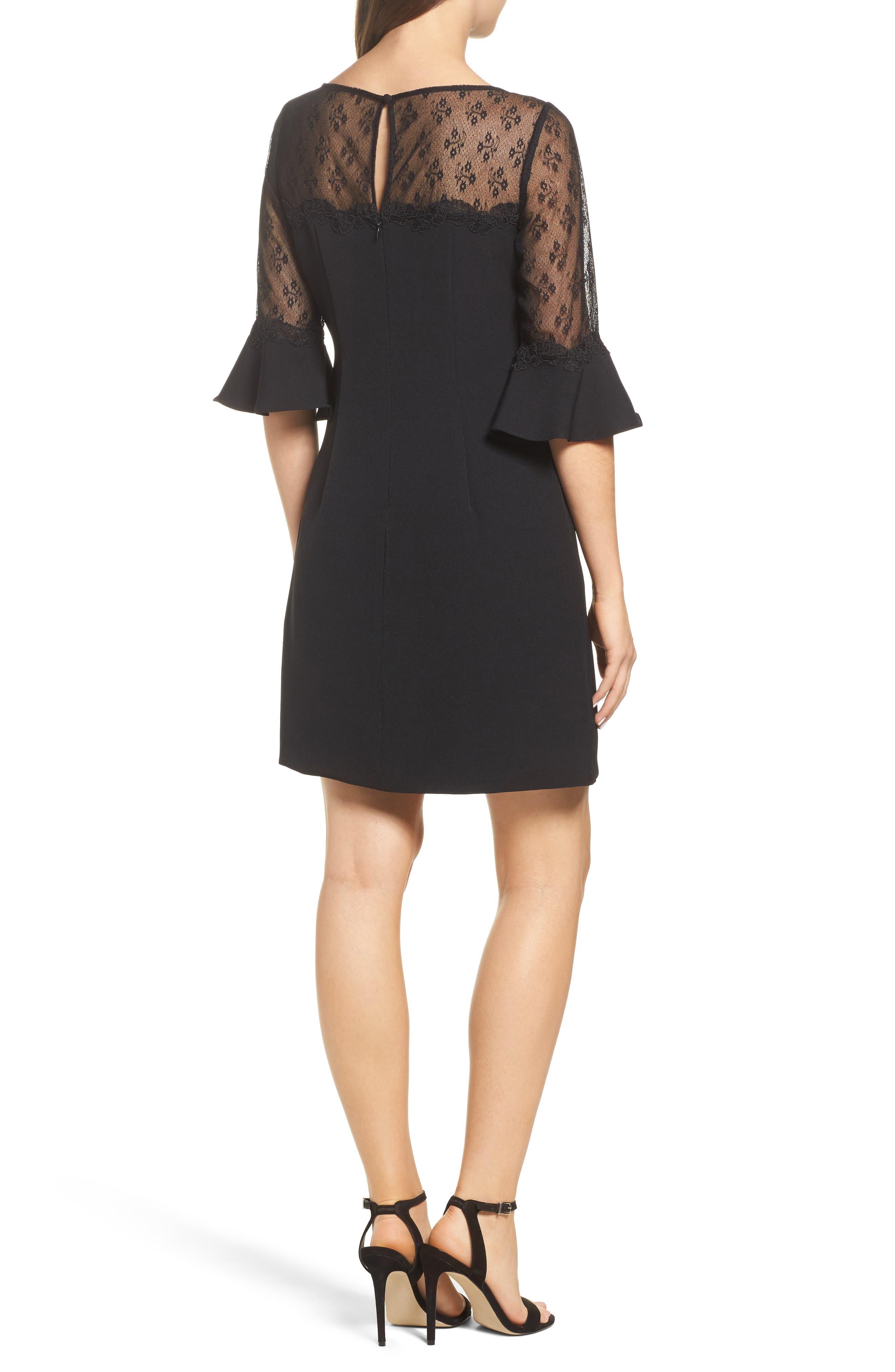 Lace & Crepe Sheath Dress,                             Alternate thumbnail 2, color,                             Black