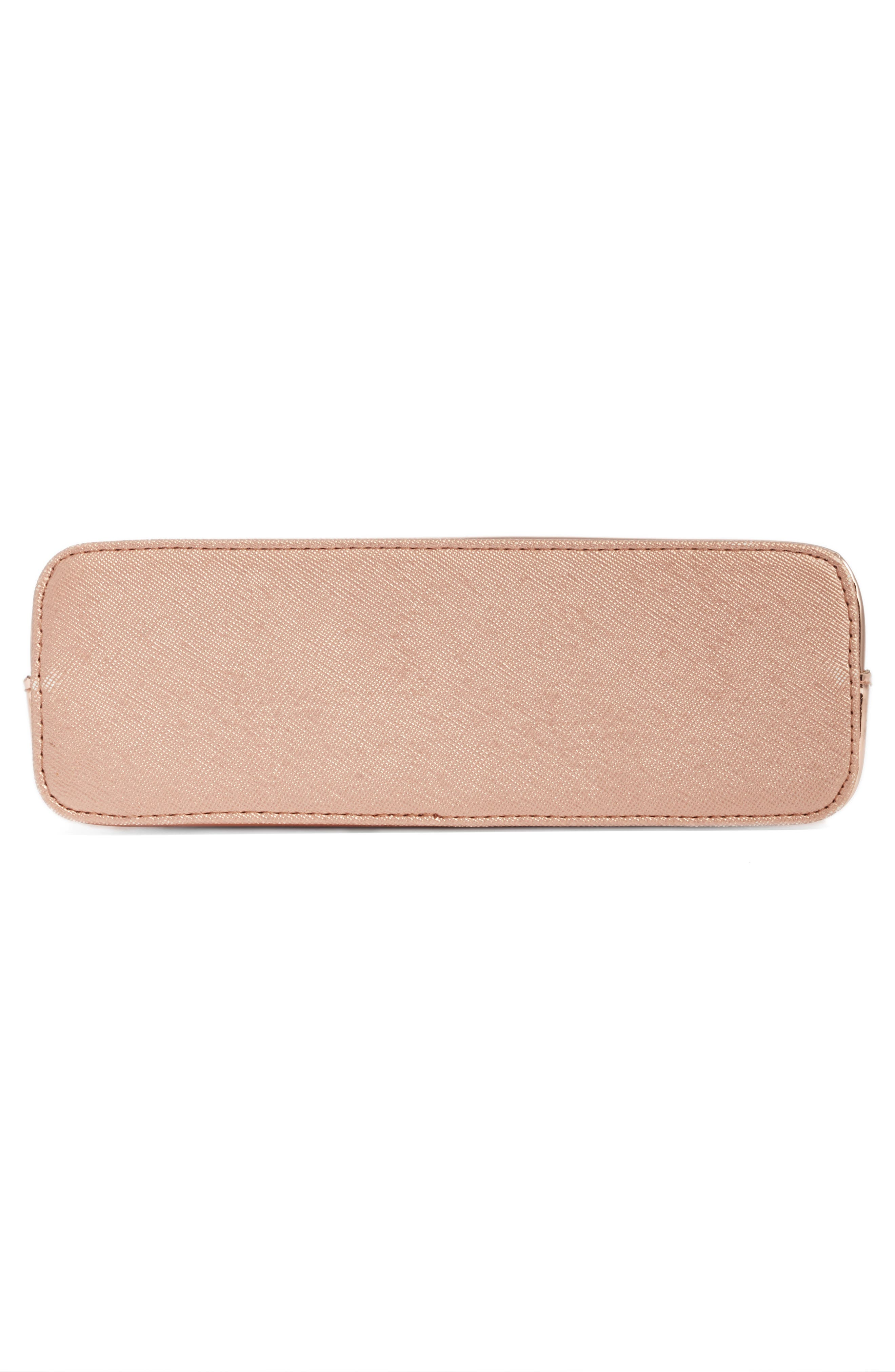 Lindsay Metallic Cosmetics Case,                             Alternate thumbnail 5, color,                             Rose Gold