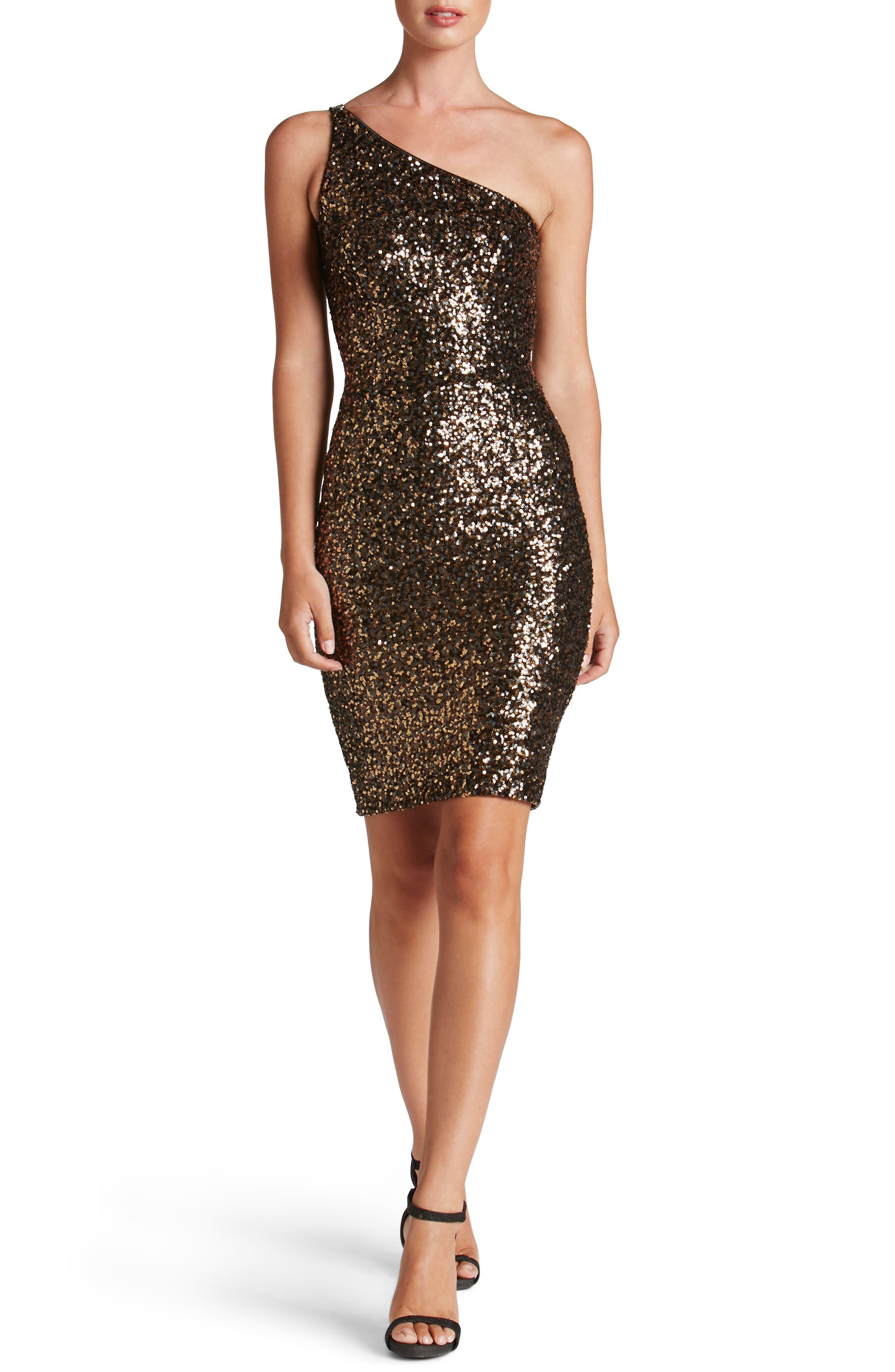 Cher One-Shoulder Sequin Body-Con Dress,                         Main,                         color, Antique Gold