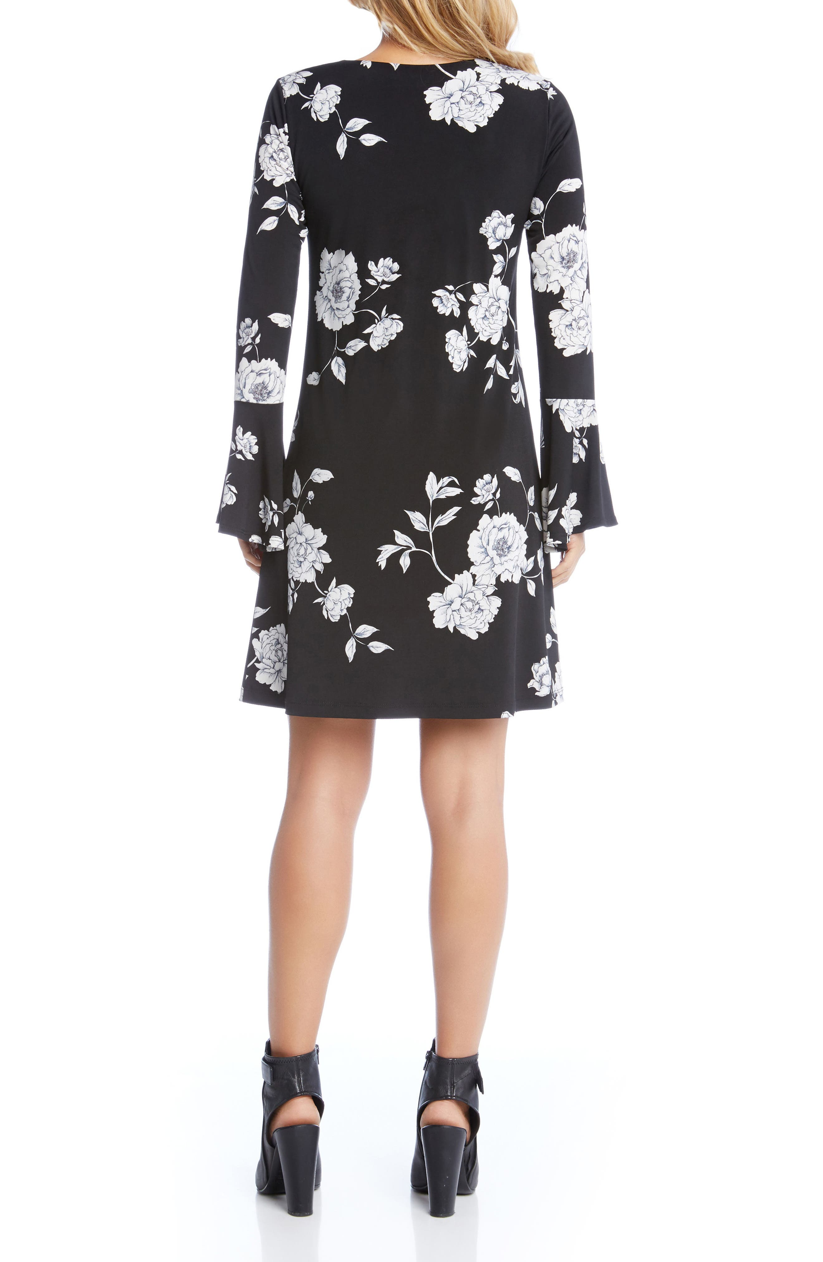 Taylor Bell Cuff Floral A-Line Dress,                             Alternate thumbnail 2, color,                             Flower