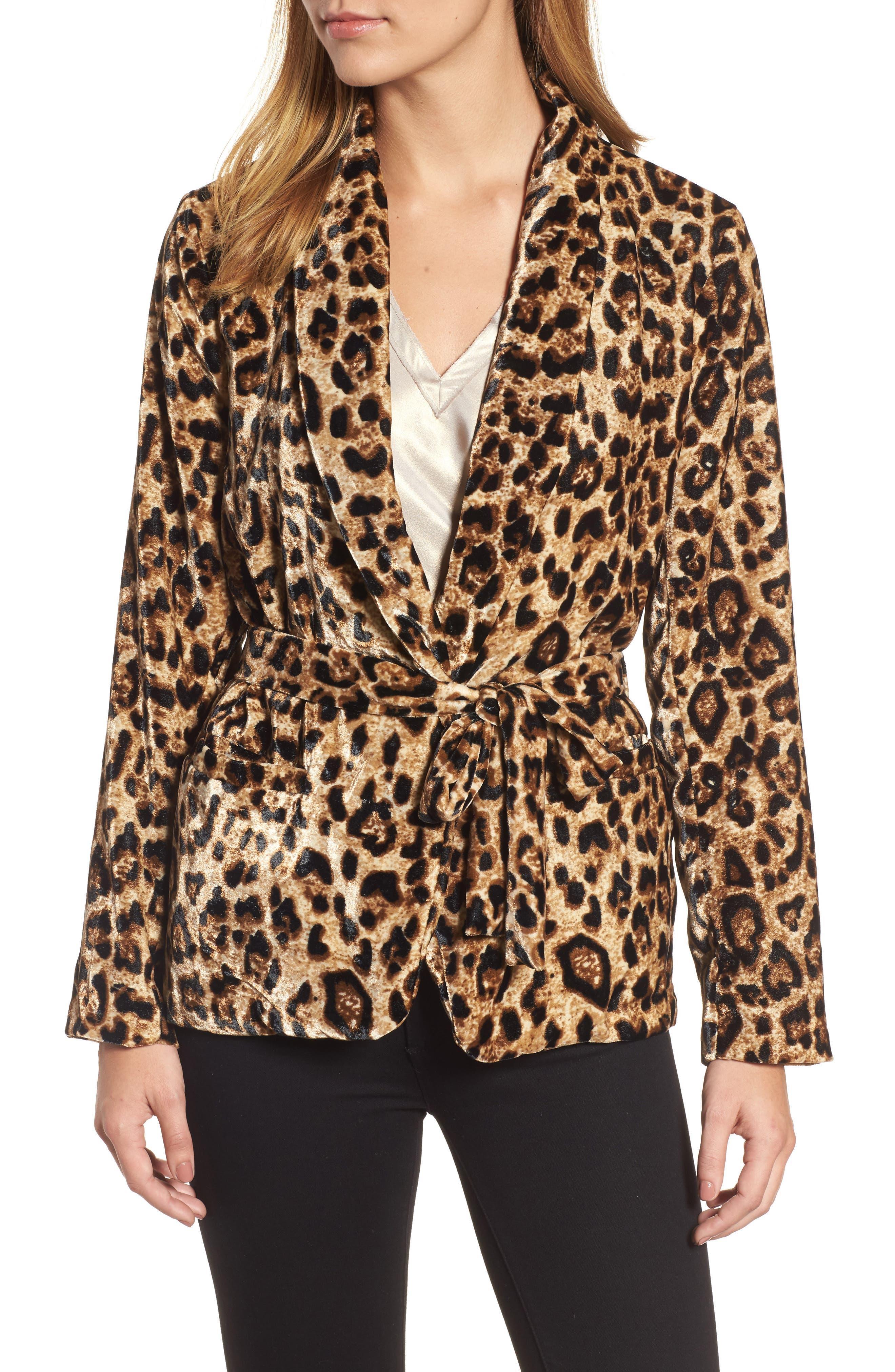 Velvet Belted Smoking Jacket,                             Alternate thumbnail 4, color,                             Leopard