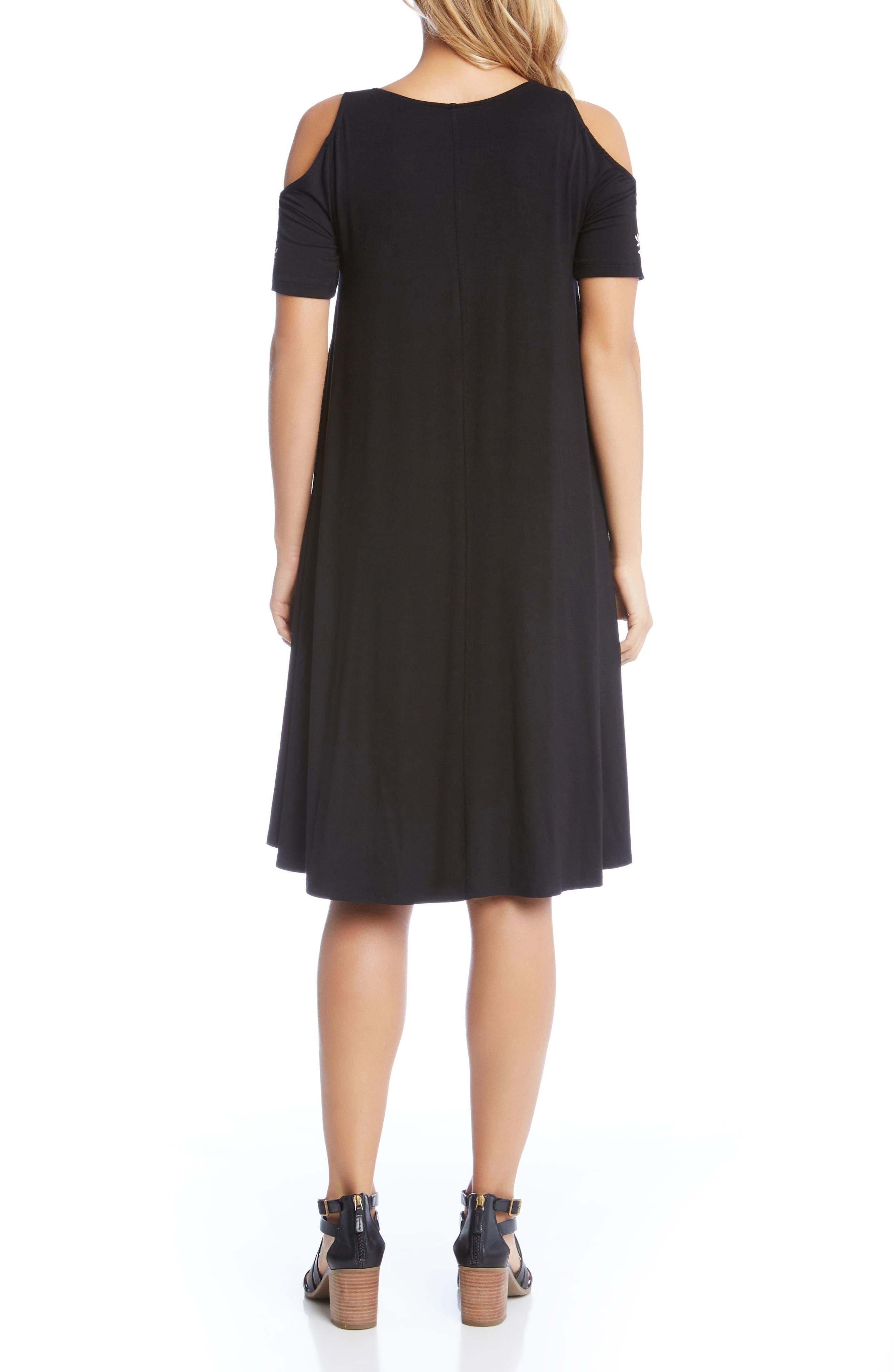 Cold Shoulder Embroidered Trapeze Dress,                             Alternate thumbnail 2, color,                             Black W/ Cream